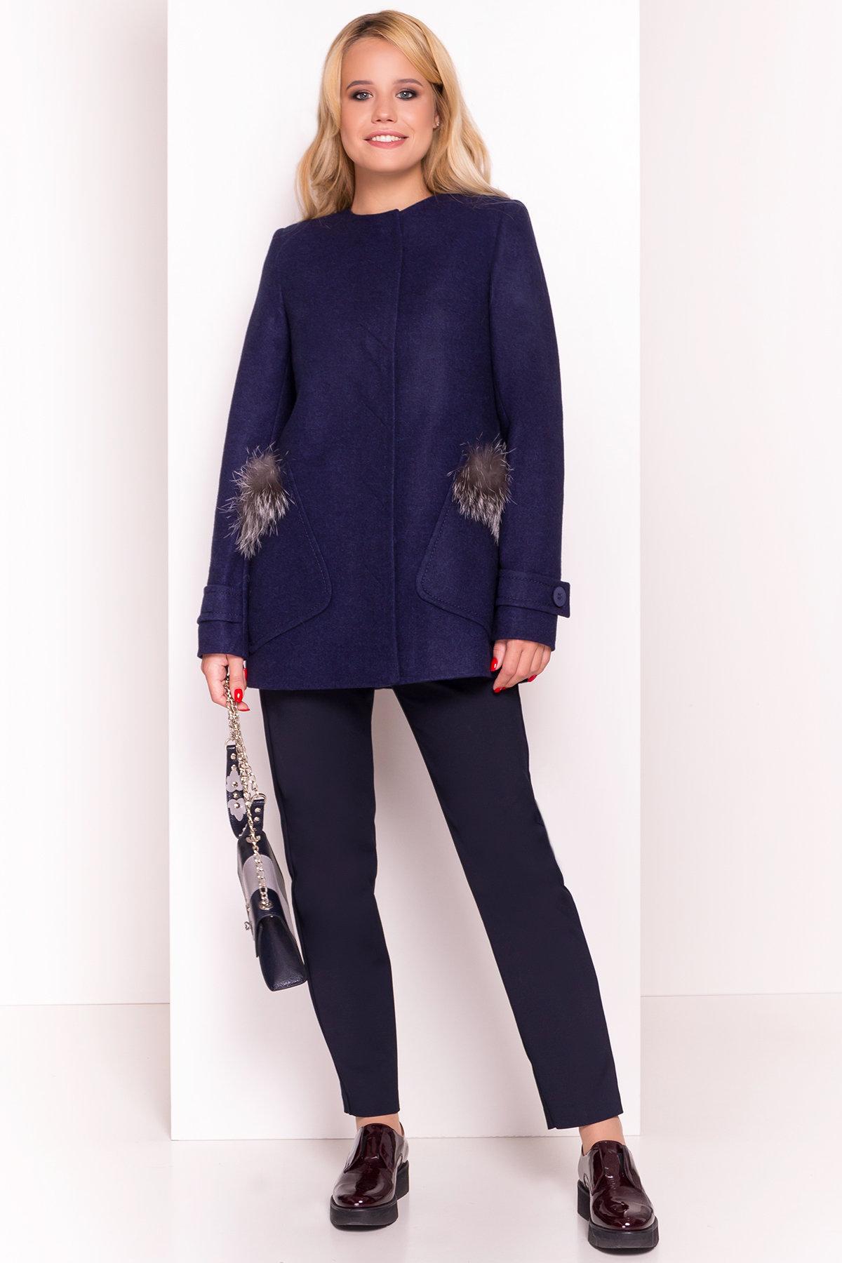 Демисезонное пальто трапеция в расцветках Латте 5429 АРТ. 36672 Цвет: Темно-синий 17 - фото 3, интернет магазин tm-modus.ru