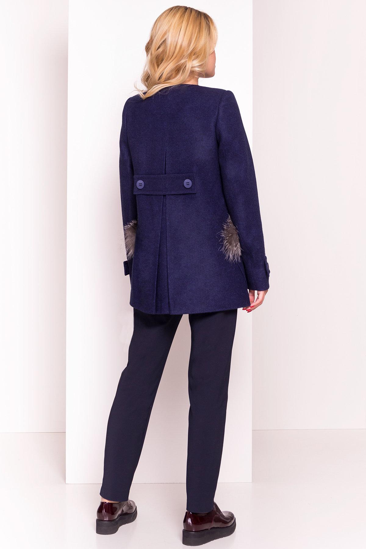Демисезонное пальто трапеция в расцветках Латте 5429 АРТ. 36672 Цвет: Темно-синий 17 - фото 5, интернет магазин tm-modus.ru