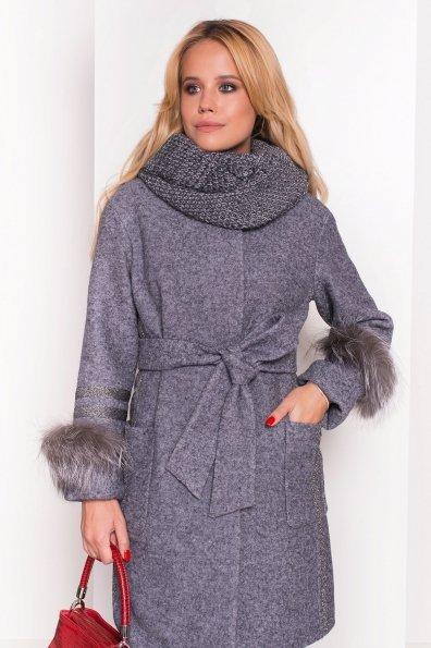 Зимнее пальто с мехом на рукавах Приоритет 5457 Цвет: Серый Темный LW-47