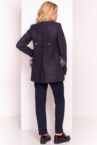 Демисезонное пальто трапеция в расцветках Латте 5429 Цвет: Темно-синий 6