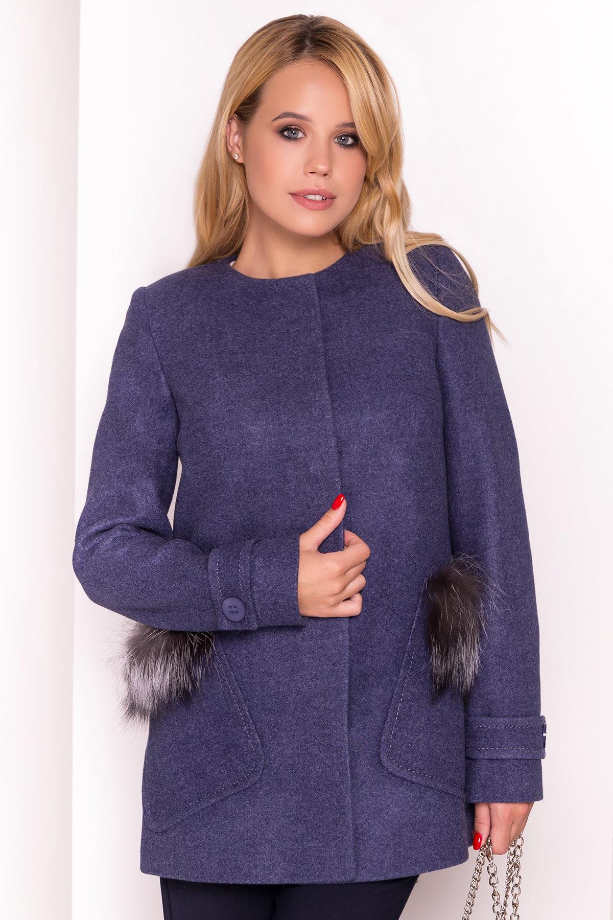 Демисезонное пальто трапеция в расцветках Латте 5429 АРТ. 36667 Цвет: Джинс - фото 3, интернет магазин tm-modus.ru