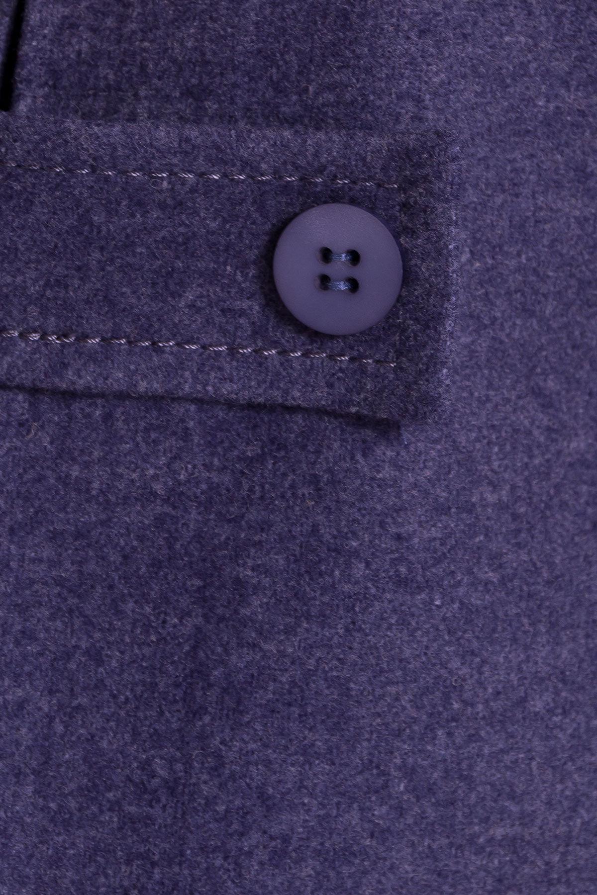 Демисезонное пальто трапеция в расцветках Латте 5429 АРТ. 36667 Цвет: Джинс - фото 5, интернет магазин tm-modus.ru