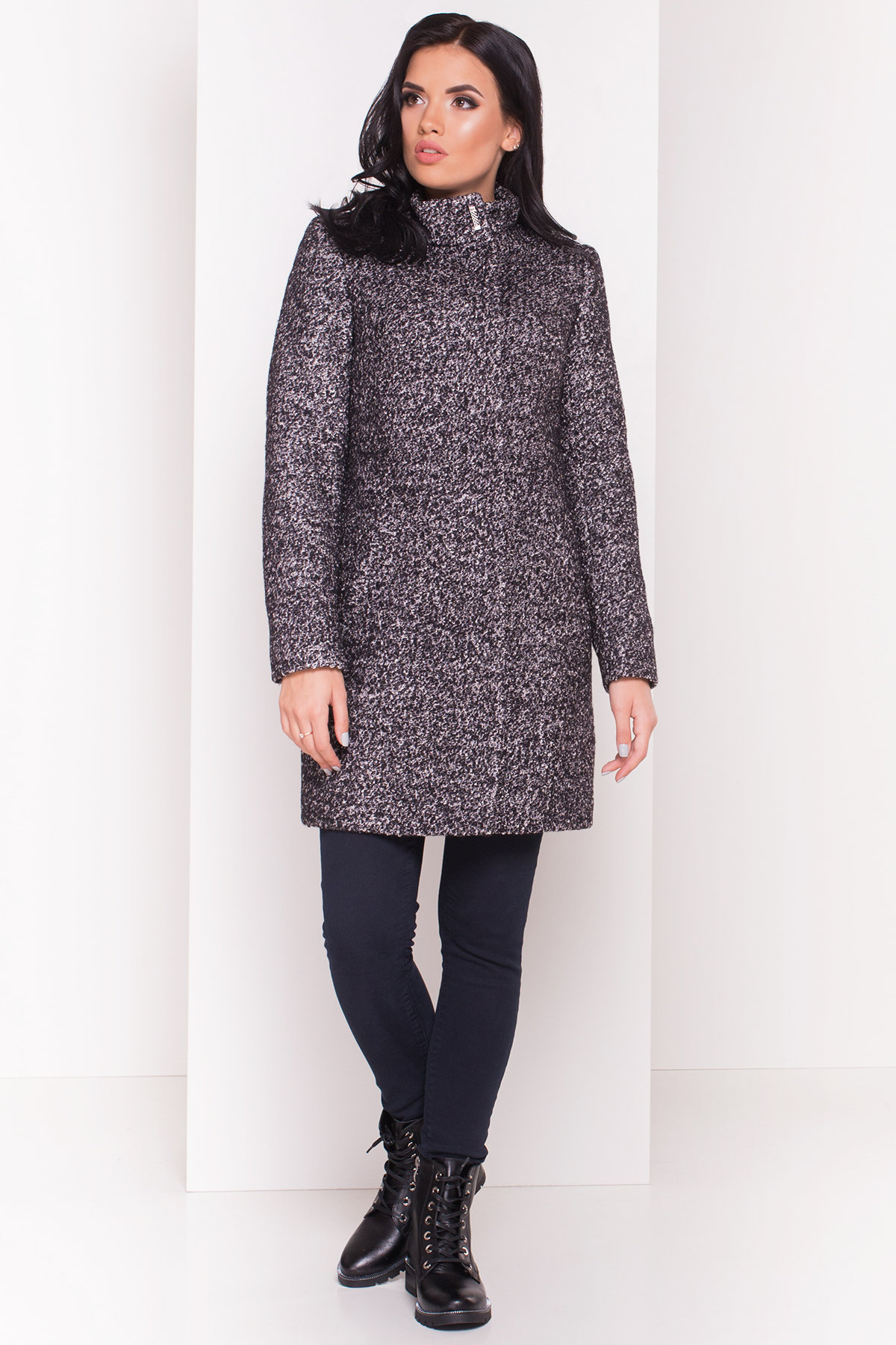 Пальто зима Фортуна 0574 АРТ. 7226 Цвет: Черный / серый 6 - фото 2, интернет магазин tm-modus.ru