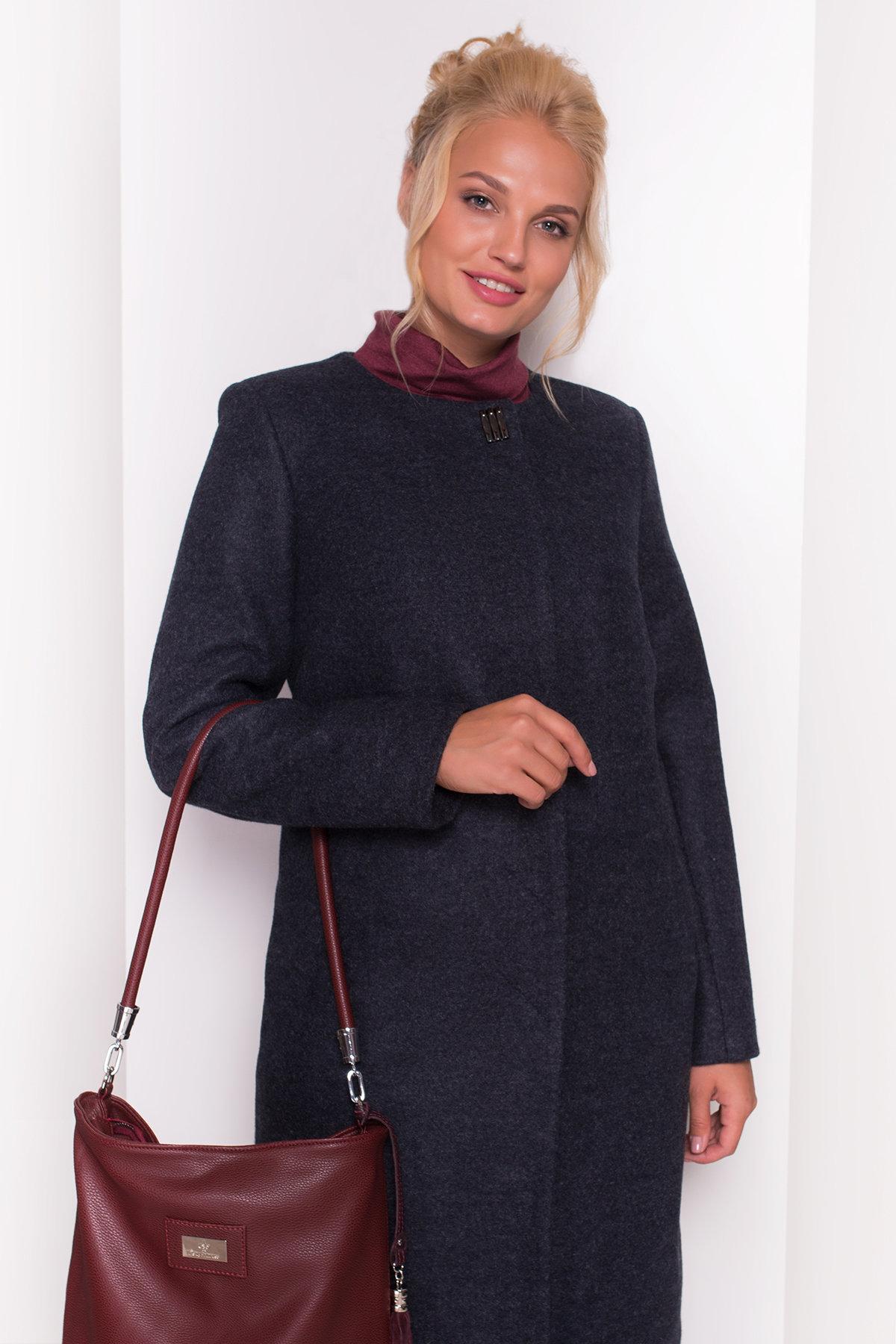 Пальто без воротника Фортуна лайт Donna 4464 Цвет: Темно-синий