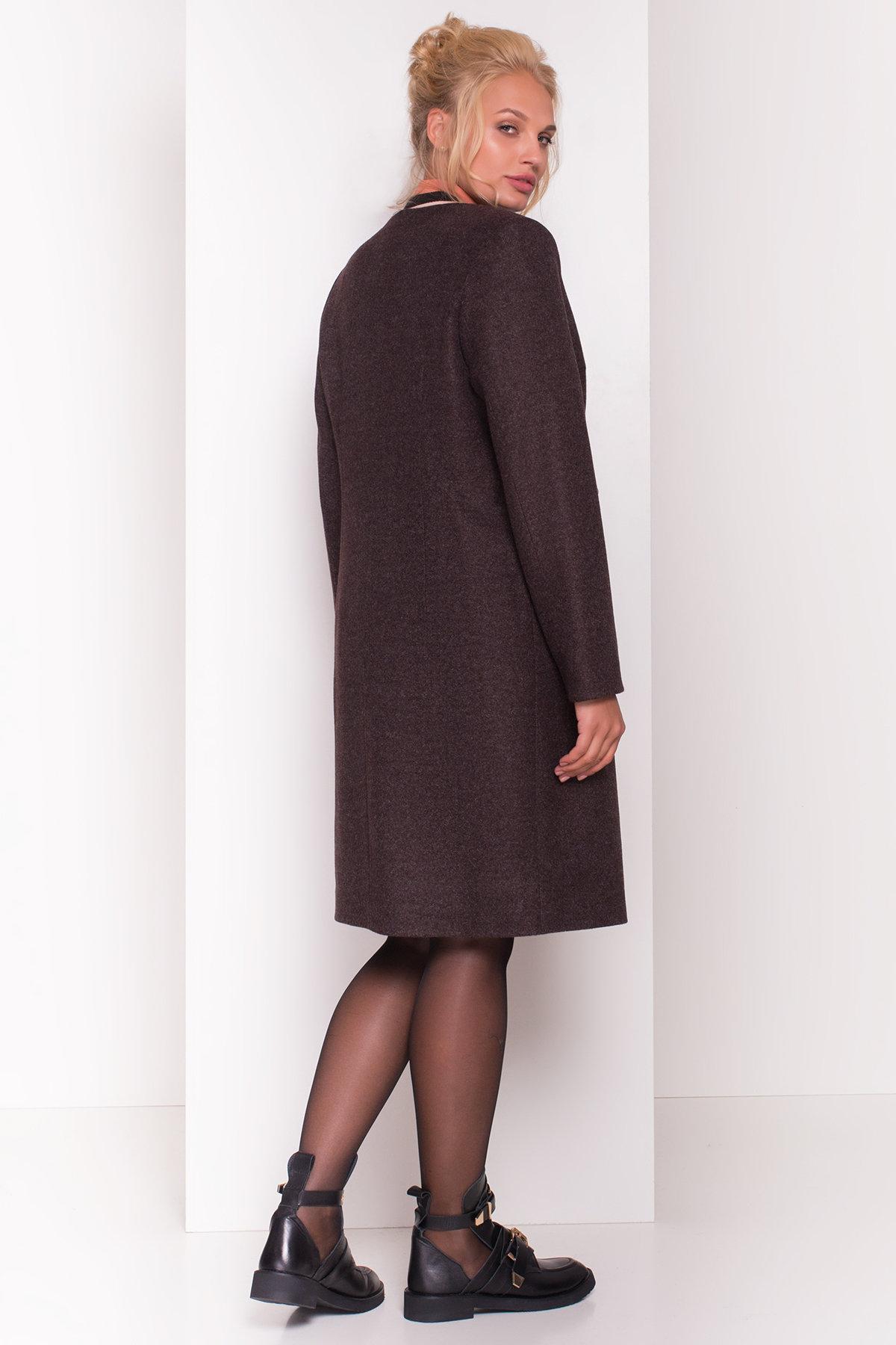 Пальто без воротника Фортуна лайт Donna 4464 Цвет: Шоколад