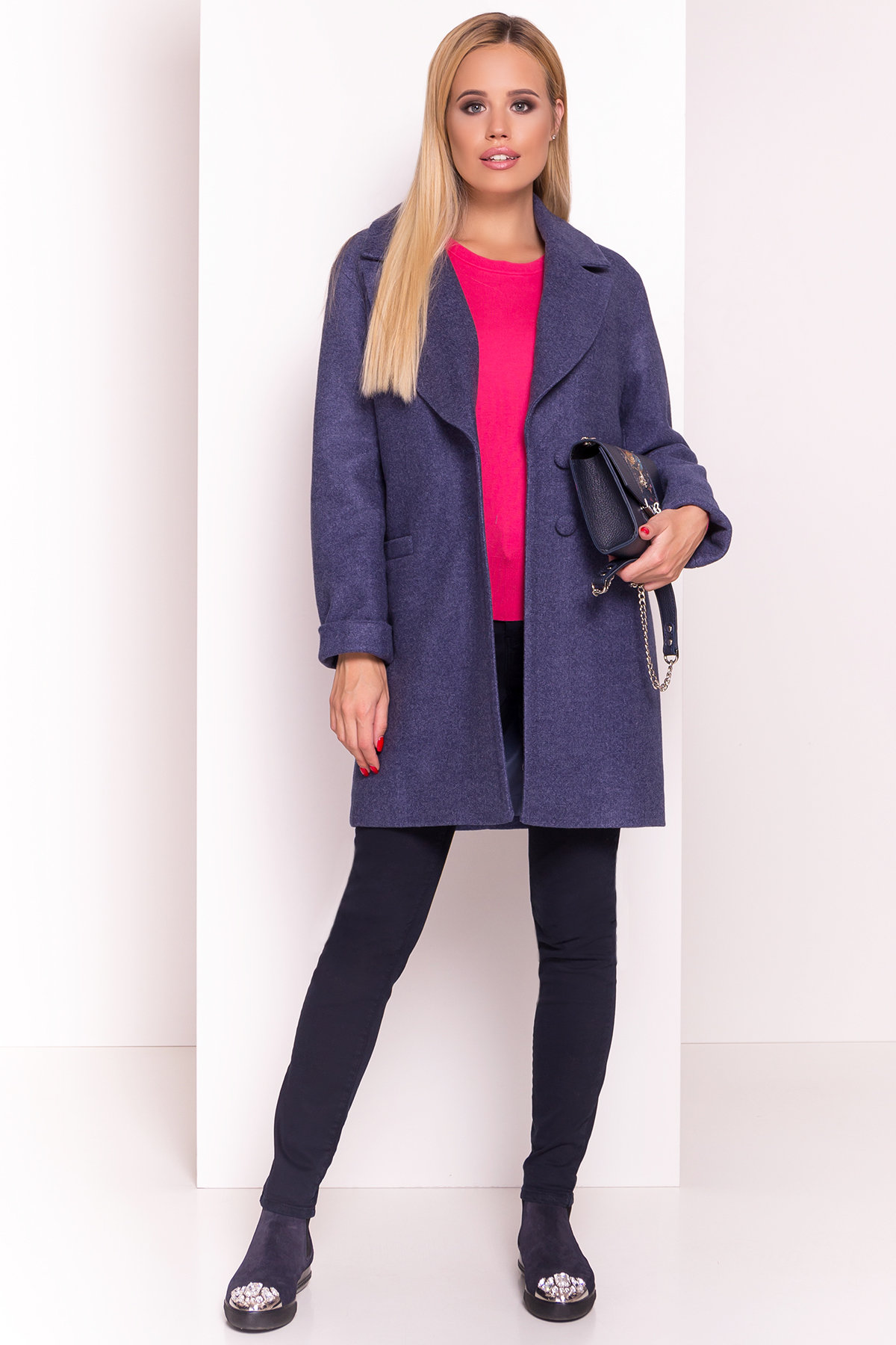 Пальто Вива 4558 АРТ. 37263 Цвет: Джинс - фото 1, интернет магазин tm-modus.ru