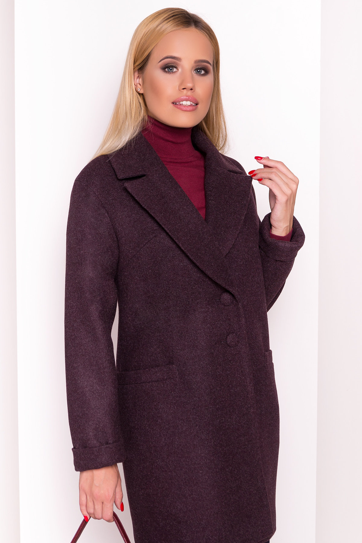 Демисезонное пальто Вива 4558 АРТ. 37265 Цвет: Марсала - фото 3, интернет магазин tm-modus.ru