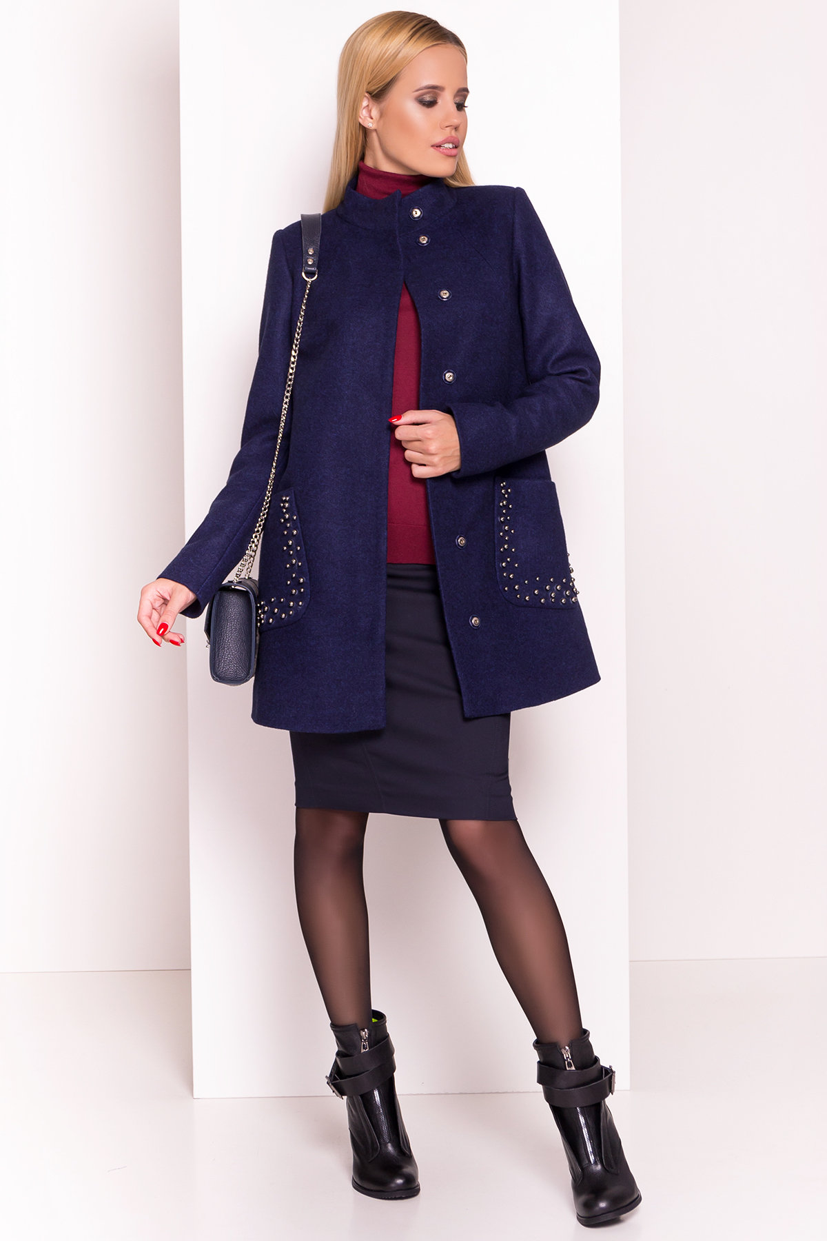 Пальто Даймон 5377 АРТ. 36745 Цвет: Темно-синий 17 - фото 1, интернет магазин tm-modus.ru