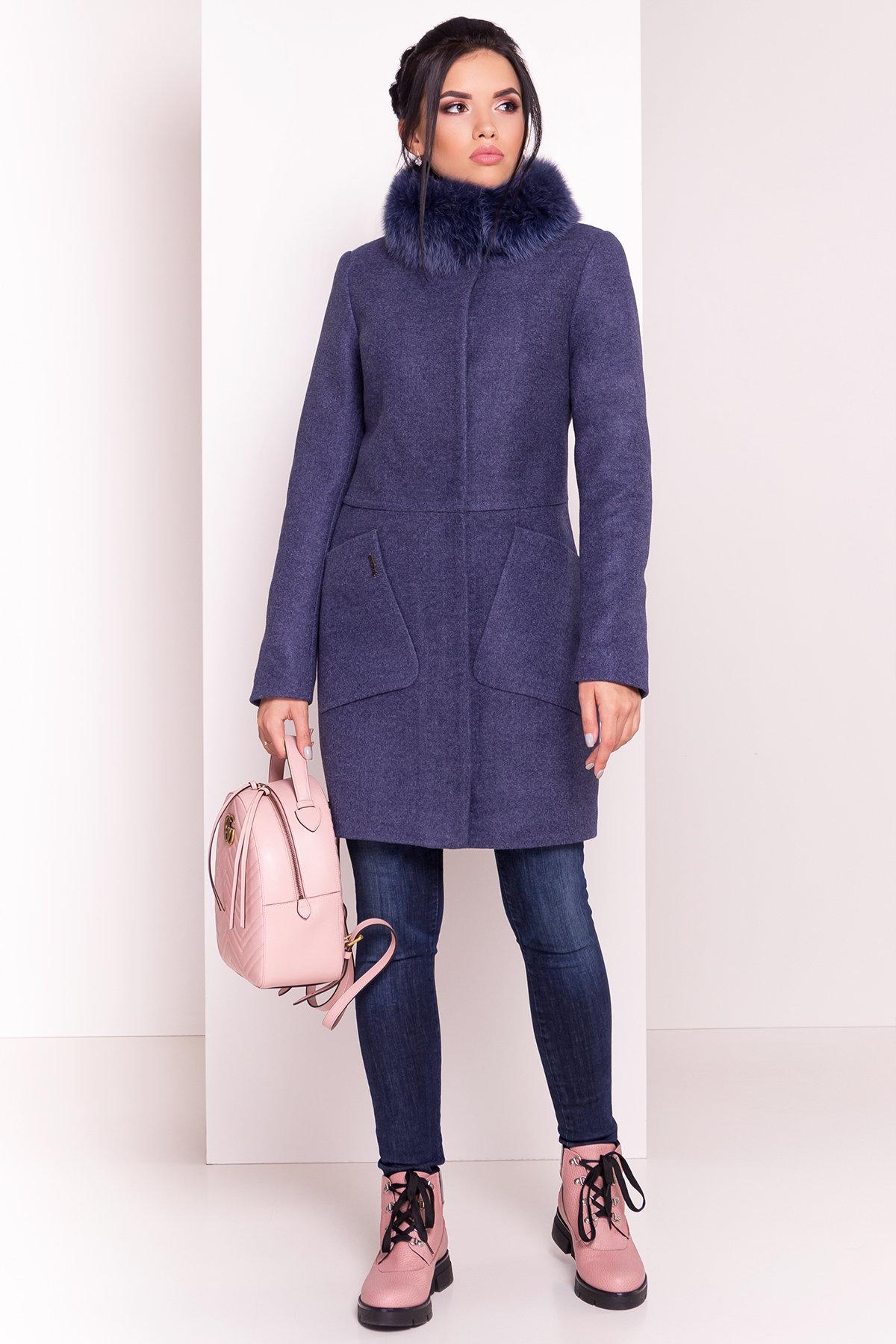 Пальто зима с меховым воротником стойкой Габи 4175 АРТ. 36700 Цвет: Джинс - фото 2, интернет магазин tm-modus.ru