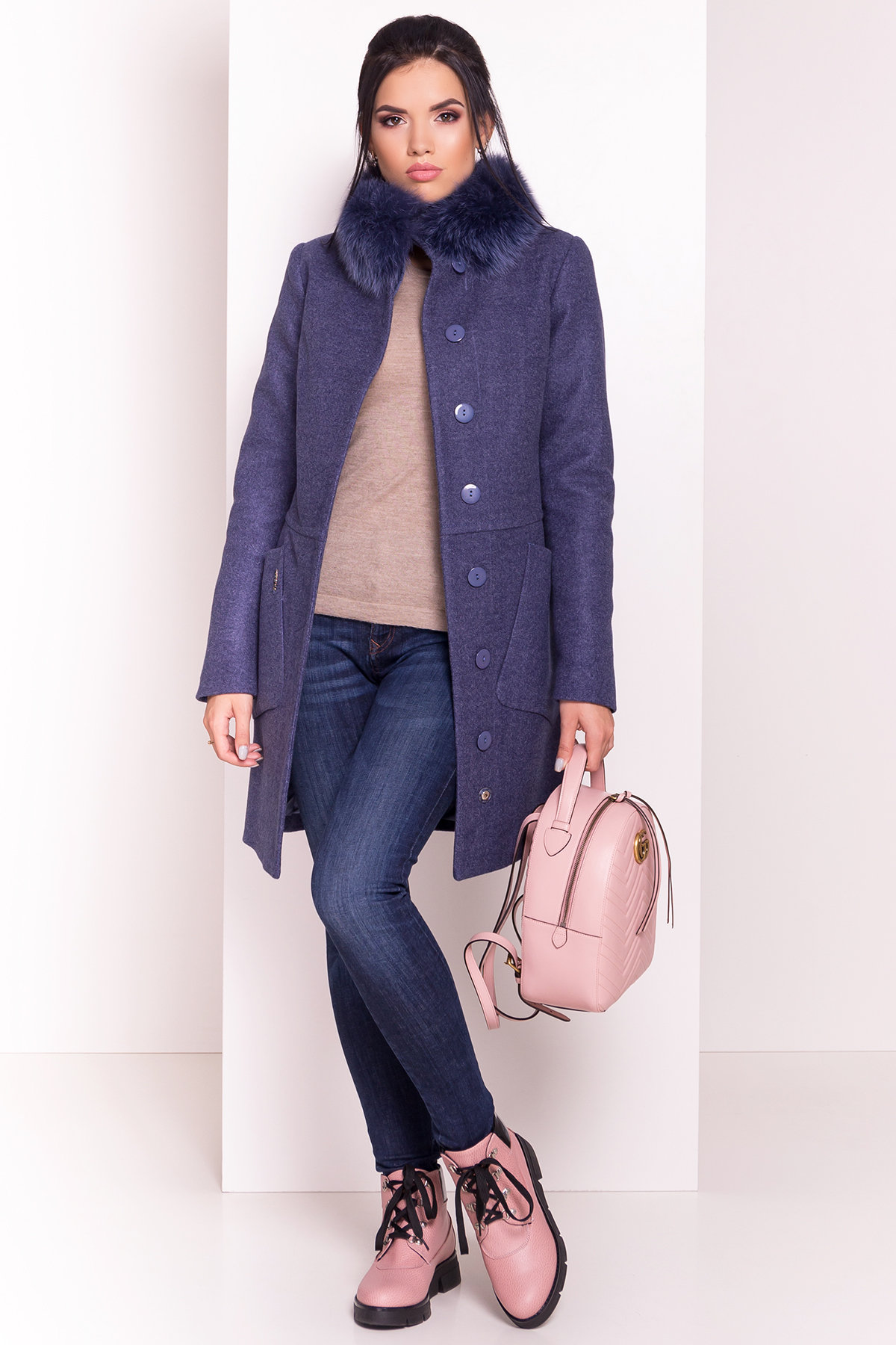 Пальто зима с меховым воротником стойкой Габи 4175 АРТ. 36700 Цвет: Джинс - фото 1, интернет магазин tm-modus.ru