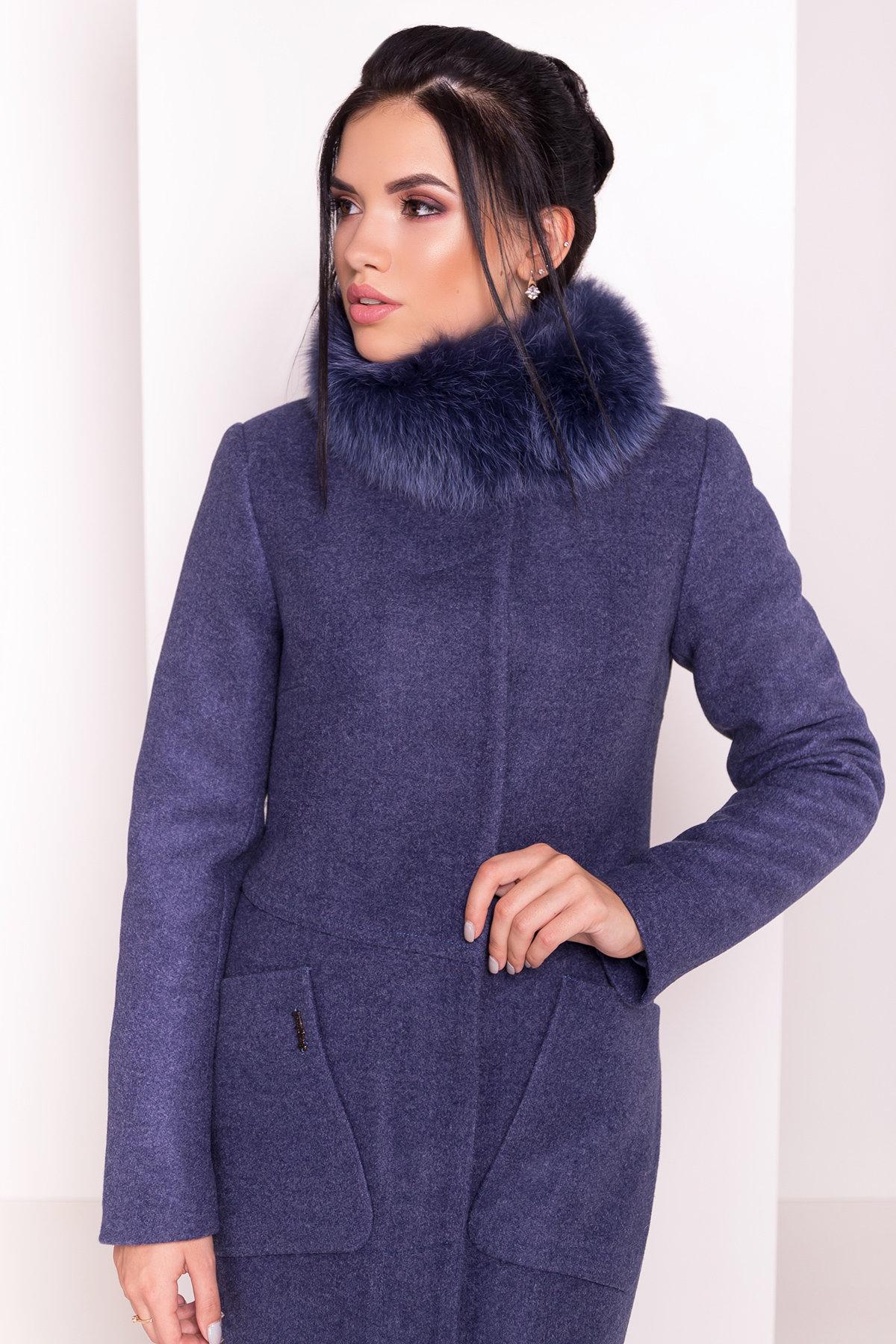 Пальто зима с меховым воротником стойкой Габи 4175 АРТ. 36700 Цвет: Джинс - фото 3, интернет магазин tm-modus.ru