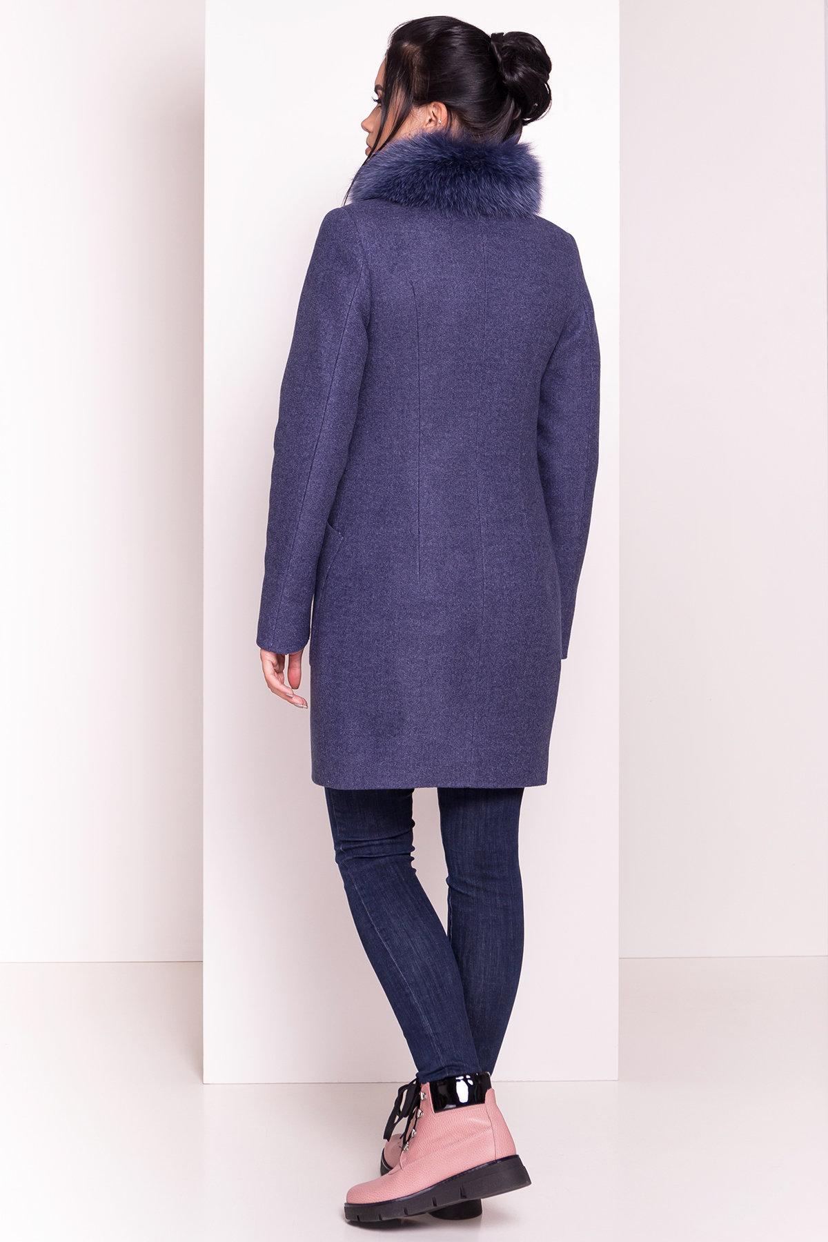 Пальто зима с меховым воротником стойкой Габи 4175 АРТ. 36700 Цвет: Джинс - фото 5, интернет магазин tm-modus.ru