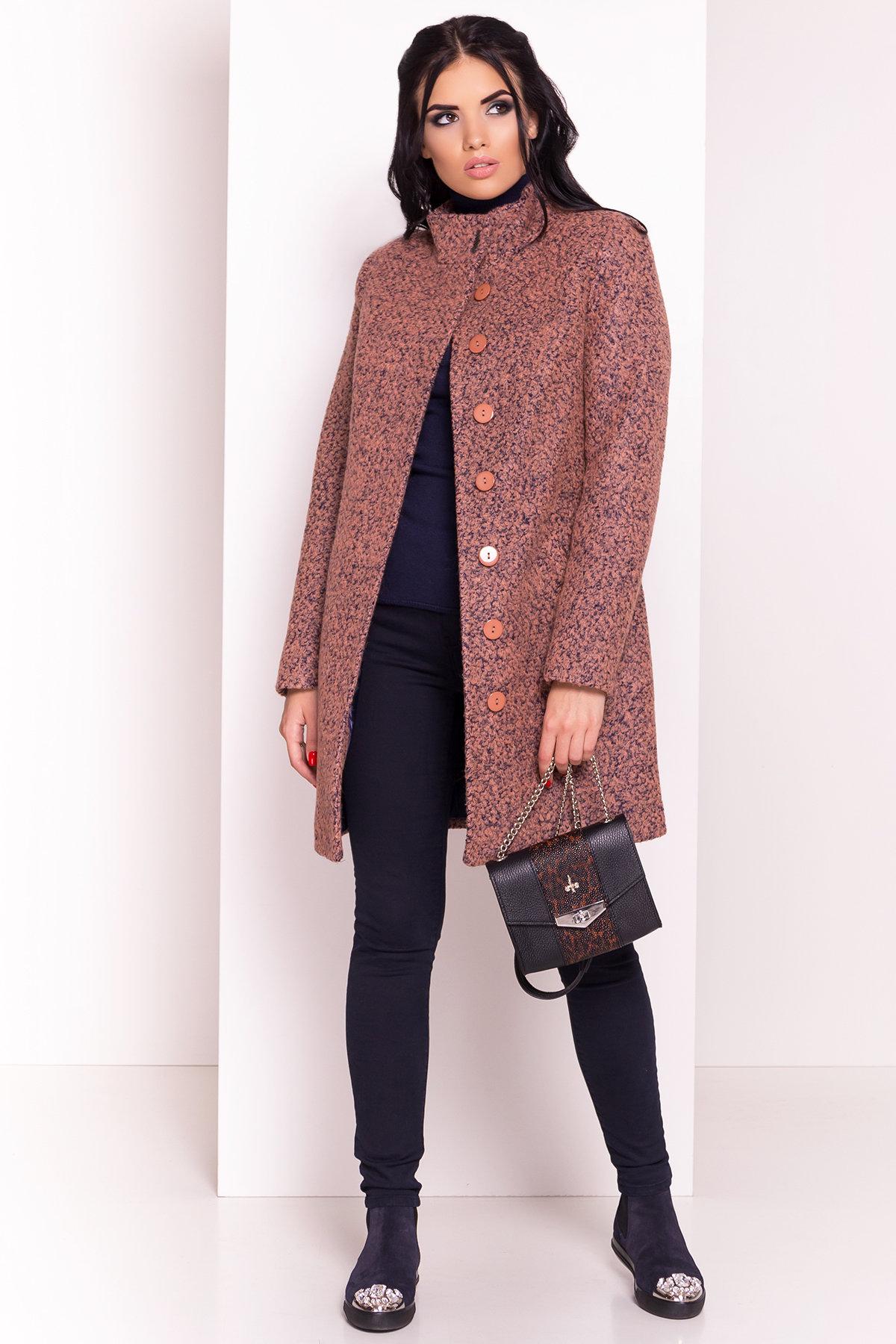 Пальто зима Фортуна 0574 Цвет: Какао/тёмный-синий