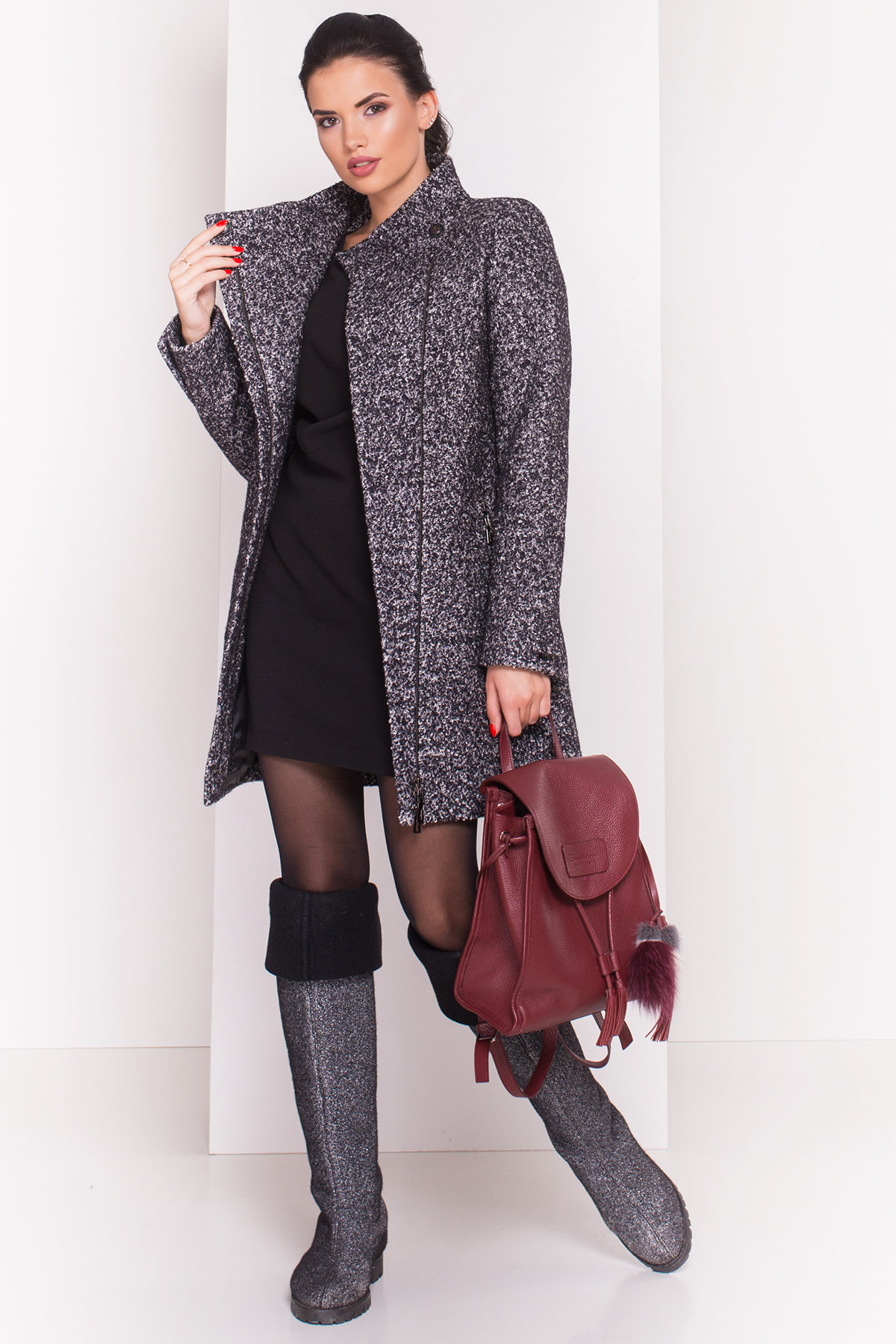 Пальто зима Эльпассо 3681 АРТ. 19191 Цвет: Черный/серый - фото 1, интернет магазин tm-modus.ru