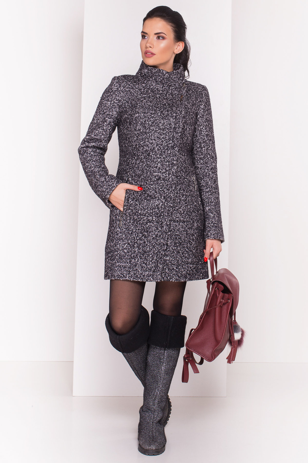 Пальто зима Эльпассо 3681 АРТ. 19191 Цвет: Черный/серый - фото 2, интернет магазин tm-modus.ru