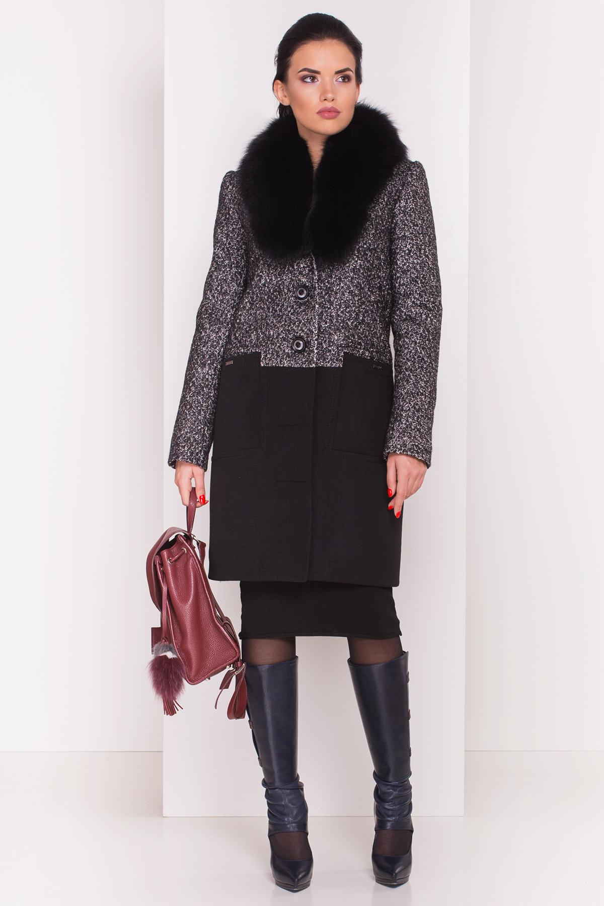 Пальто зима Мальта 0648 АРТ. 7363 Цвет: Чёрно-серый / Черный - фото 2, интернет магазин tm-modus.ru