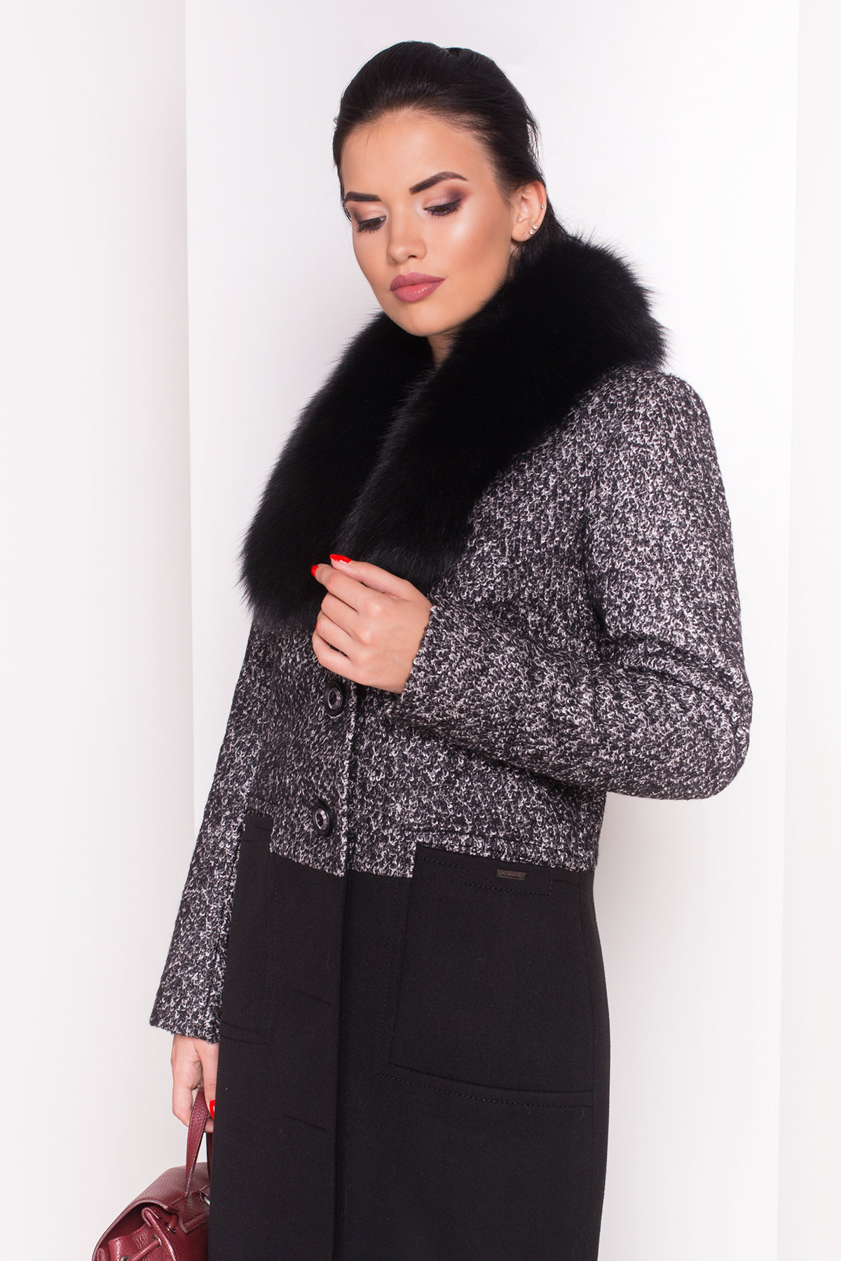 Пальто зима Мальта 0648 АРТ. 7363 Цвет: Чёрно-серый / Черный - фото 3, интернет магазин tm-modus.ru