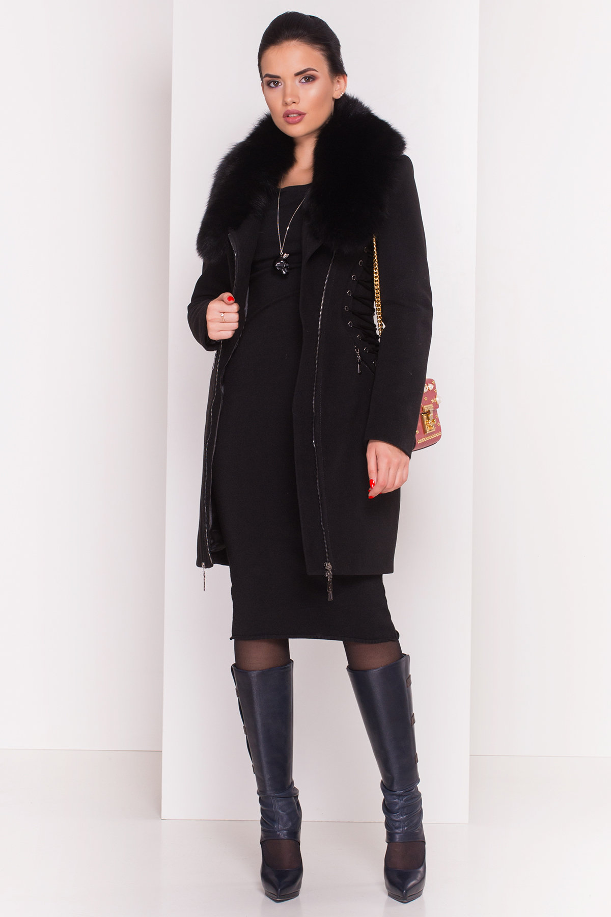 Пальто зима Бренд 0745  Цвет: Черный