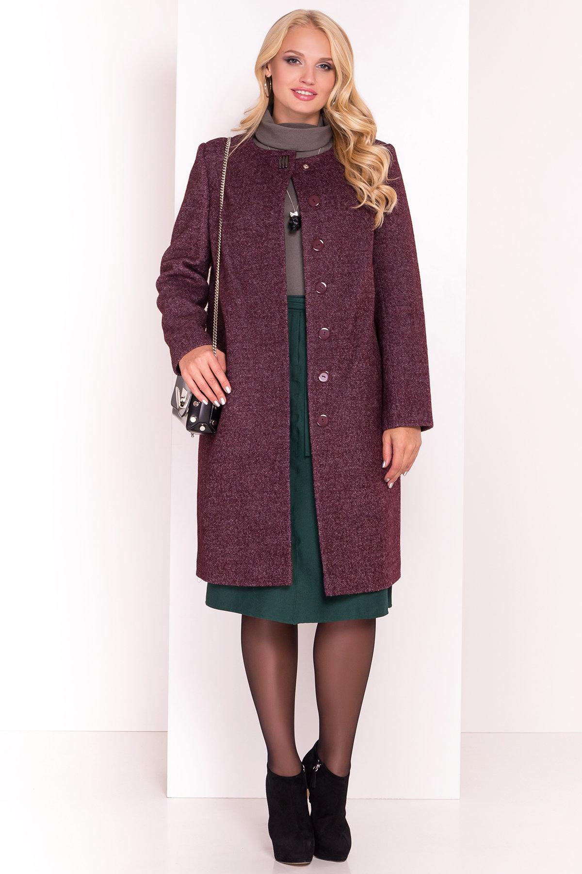 Демисезонное пальто цвета марсала Фортуна DONNA 3377 АРТ. 17323 Цвет: Марсала - фото 1, интернет магазин tm-modus.ru