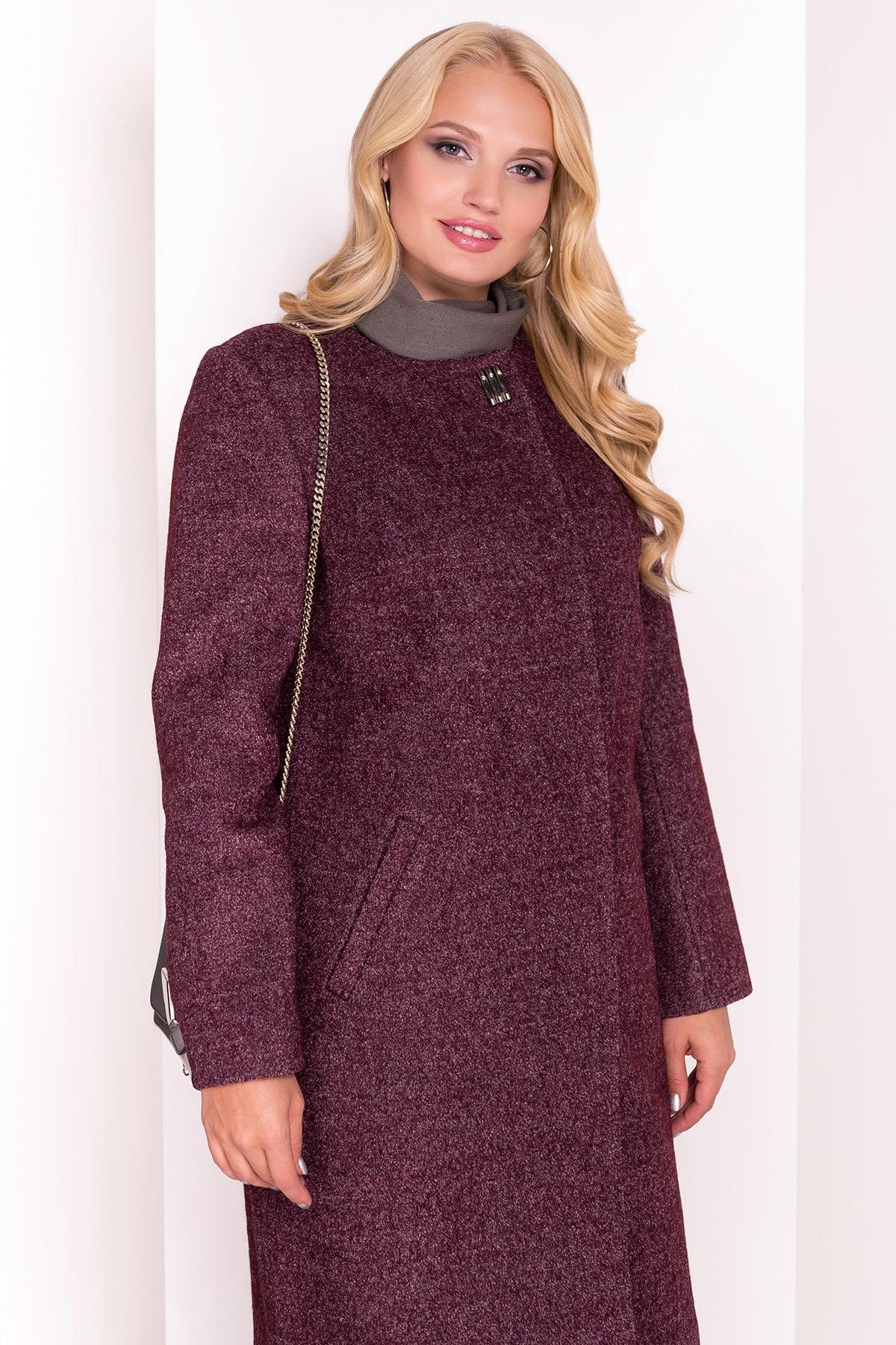 Демисезонное пальто цвета марсала Фортуна DONNA 3377 АРТ. 17323 Цвет: Марсала - фото 3, интернет магазин tm-modus.ru