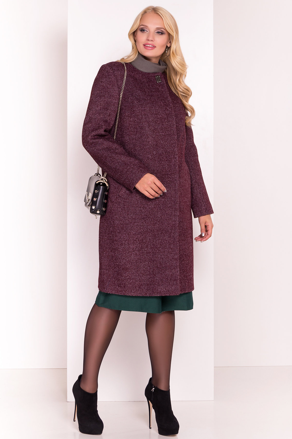 Демисезонное пальто цвета марсала Фортуна DONNA 3377 Цвет: Марсала