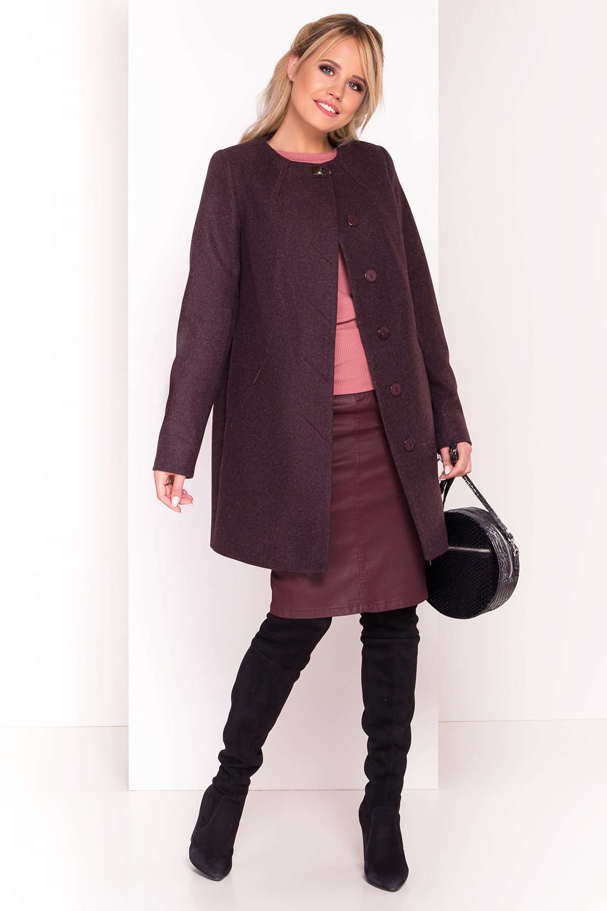 Пальто Шаника 5379 АРТ. 37629 Цвет: Марсала 5 - фото 1, интернет магазин tm-modus.ru