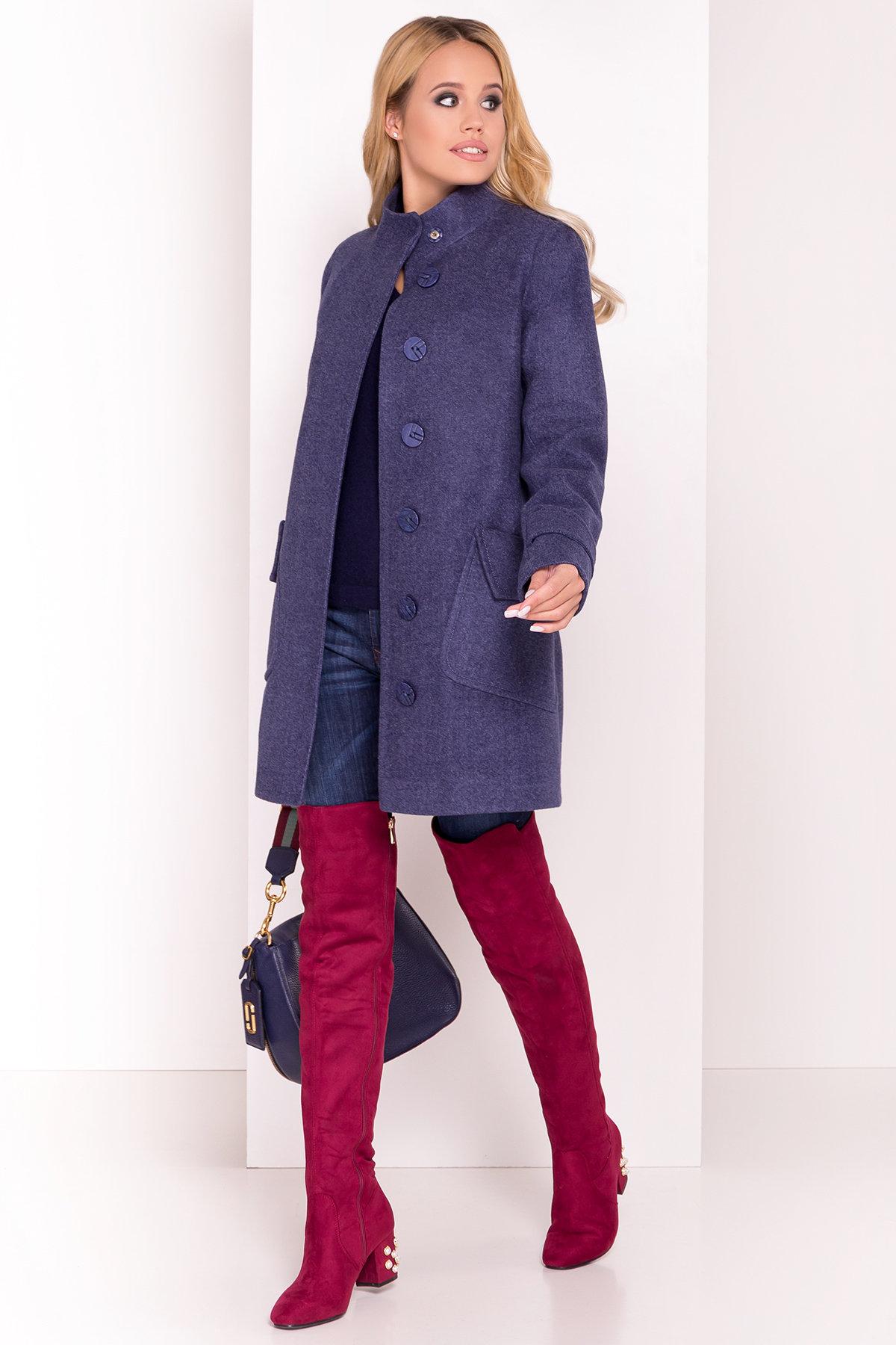 Демисезонное пальто с воротником стойка Эста 5417 АРТ. 36788 Цвет: Джинс - фото 1, интернет магазин tm-modus.ru