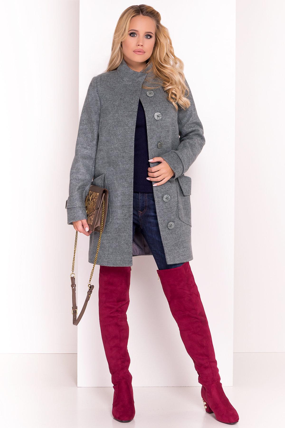 Демисезонное пальто с воротником стойка Эста 5417 АРТ. 36790 Цвет: Олива - фото 1, интернет магазин tm-modus.ru