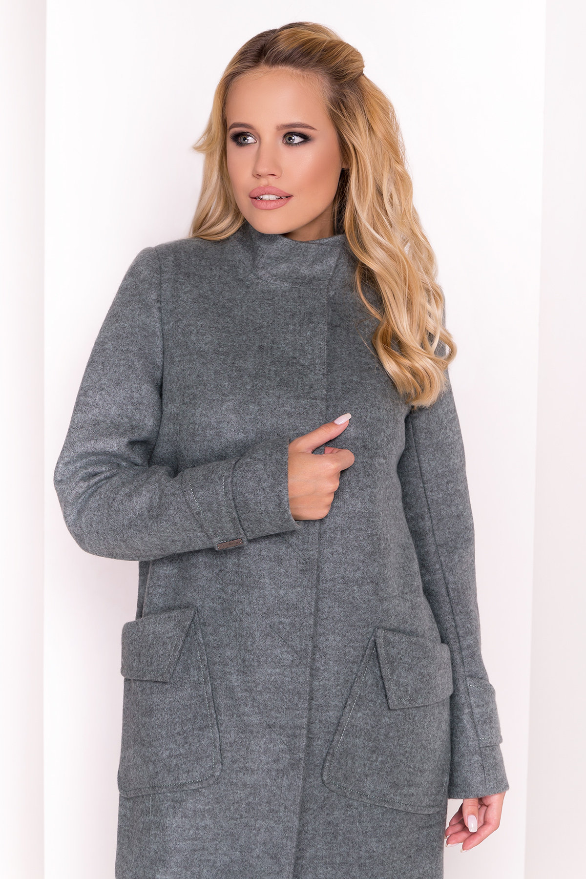 Демисезонное пальто с воротником стойка Эста 5417 АРТ. 36790 Цвет: Олива - фото 3, интернет магазин tm-modus.ru