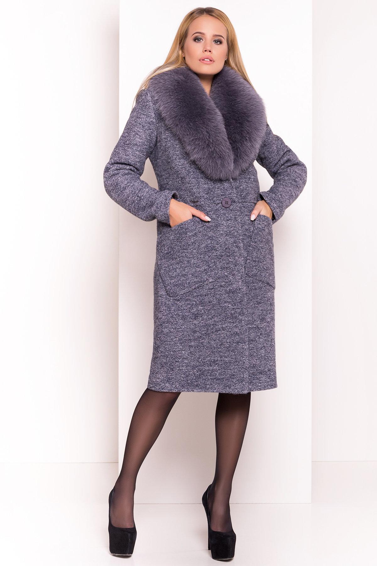 Утепленное пальто зима с накладными карманами Габриэлла 4155 Цвет: Серый темный LW-22