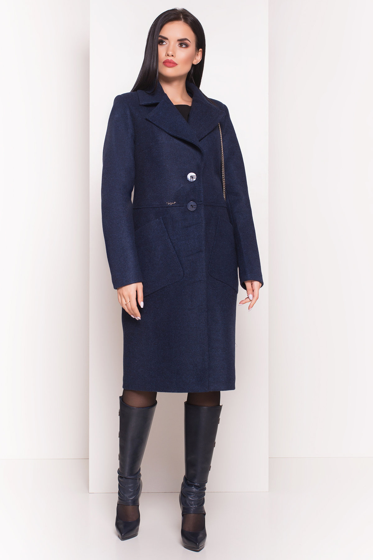Пальто на весну-осень Габриэлла 4459 АРТ. 36662 Цвет: Темно-синий 17 - фото 4, интернет магазин tm-modus.ru