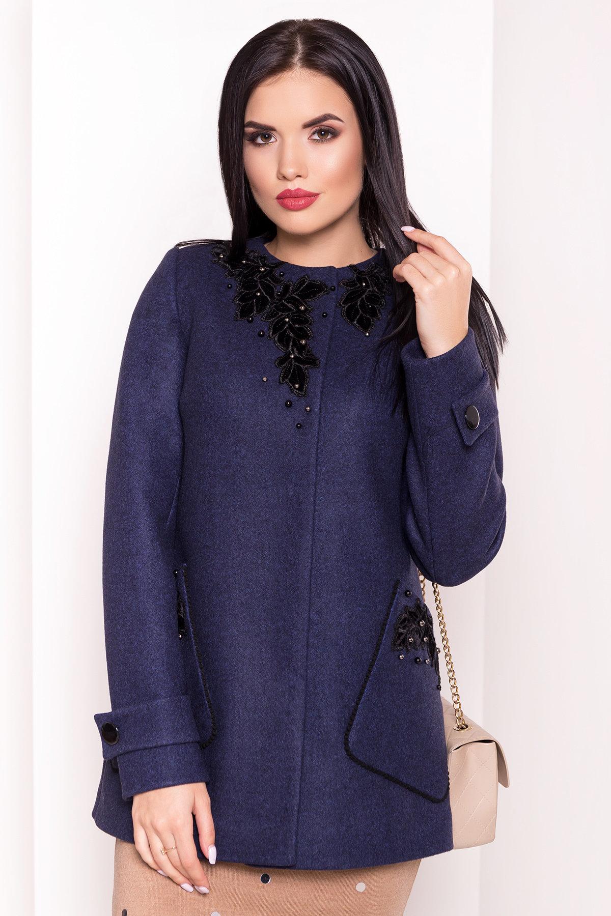 Укороченное пальто-трапеция с вышивкой Латта 5526 АРТ. 37721 Цвет: Синий 1 - фото 4, интернет магазин tm-modus.ru