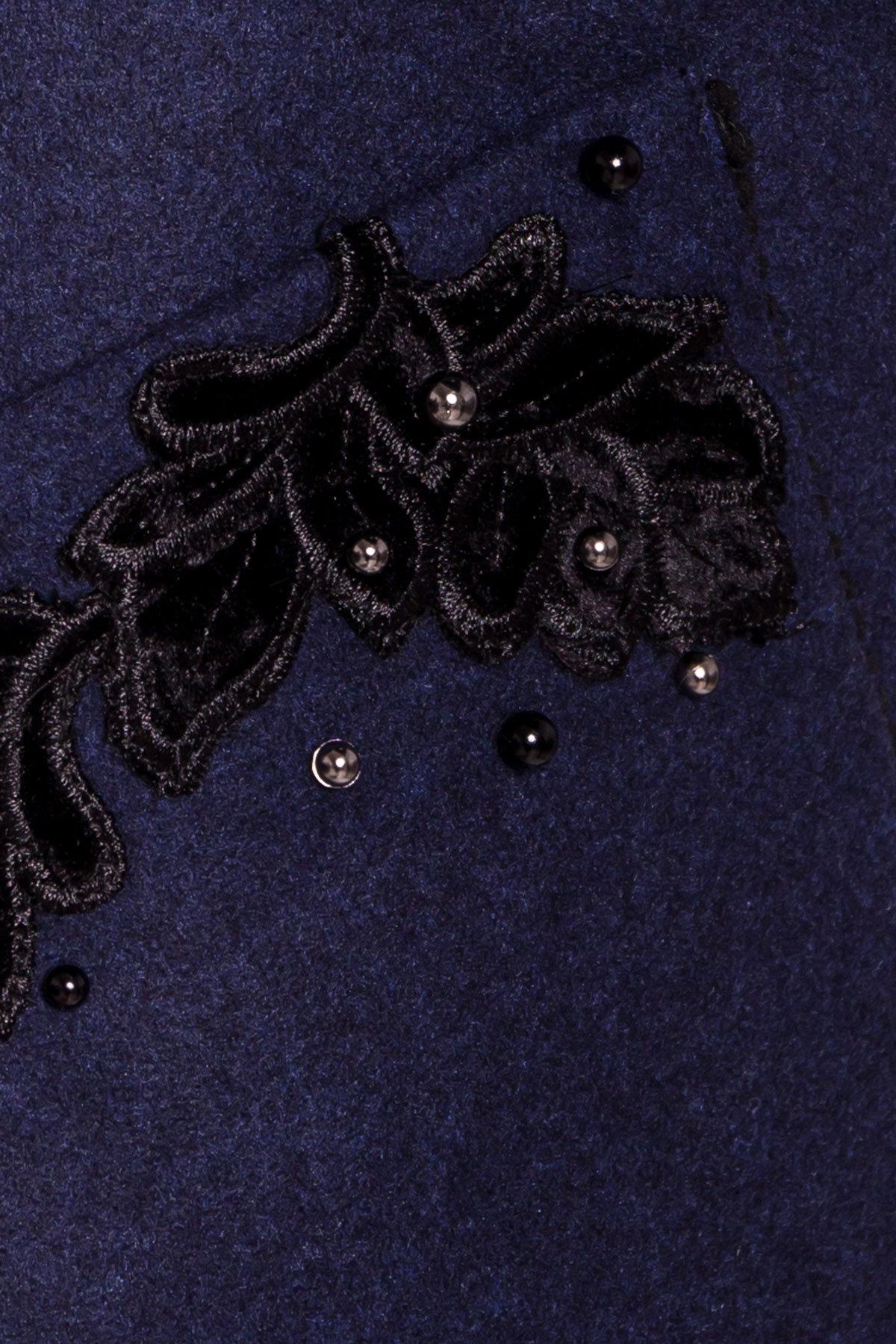 Укороченное пальто-трапеция с вышивкой Латта 5526 АРТ. 37721 Цвет: Синий 1 - фото 5, интернет магазин tm-modus.ru