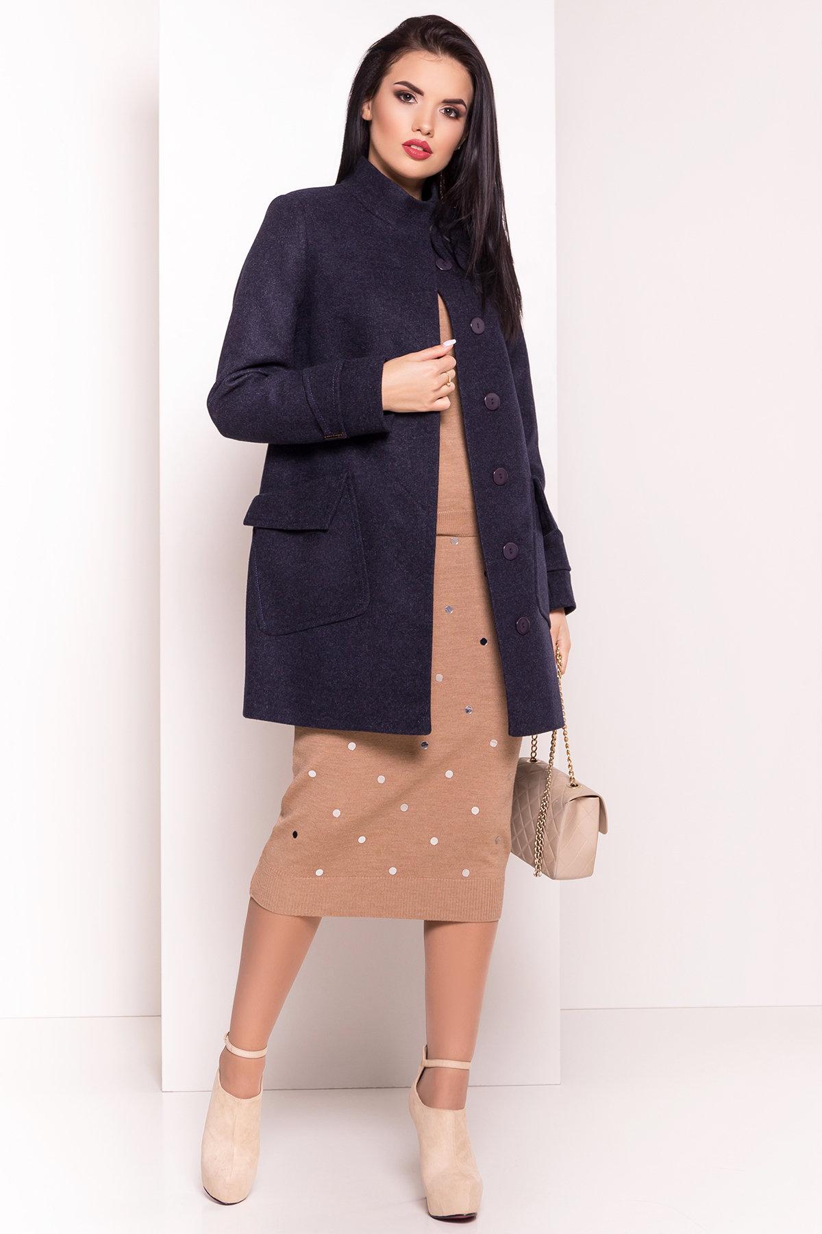 Демисезонное пальто с воротником стойка Эста 5417 АРТ. 36786 Цвет: Темно-синий - фото 3, интернет магазин tm-modus.ru