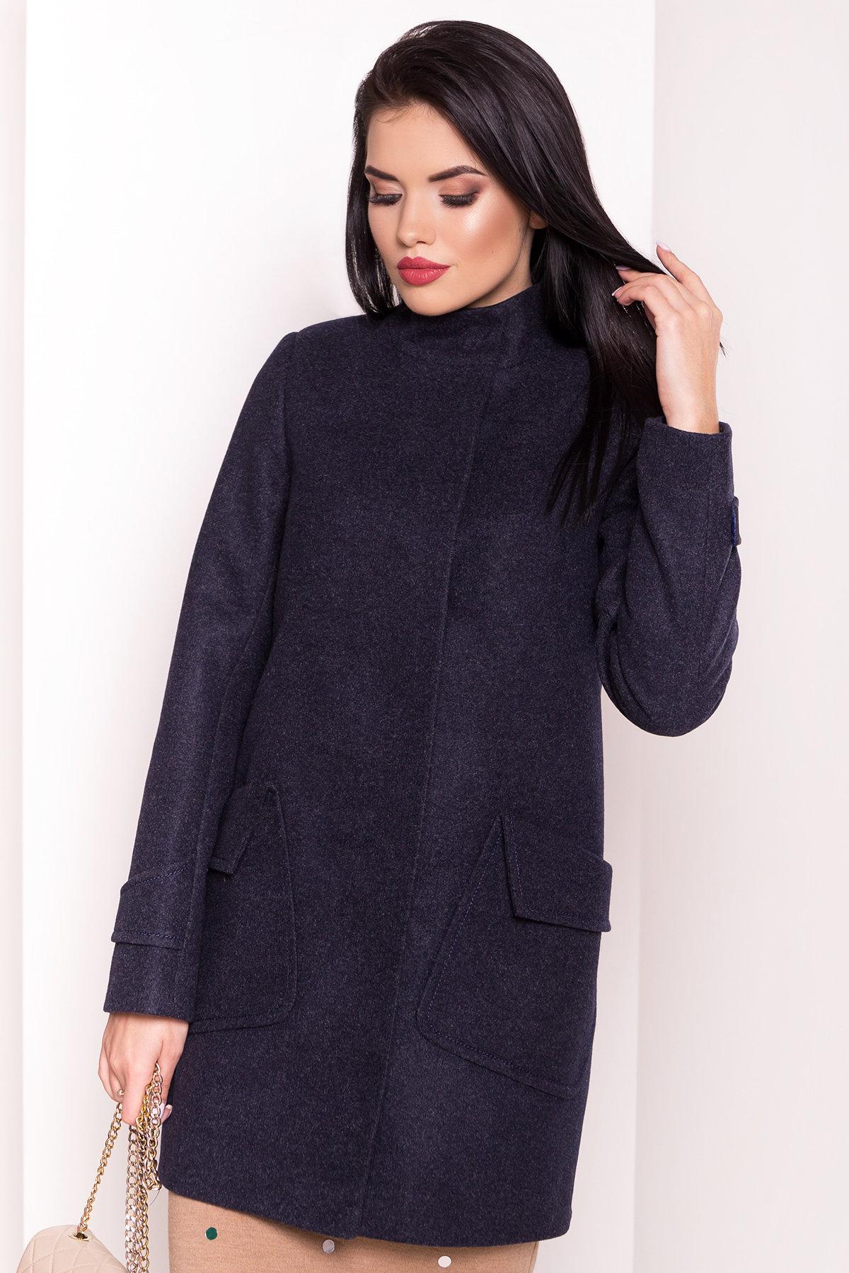 Демисезонное пальто с воротником стойка Эста 5417 АРТ. 36786 Цвет: Темно-синий - фото 4, интернет магазин tm-modus.ru