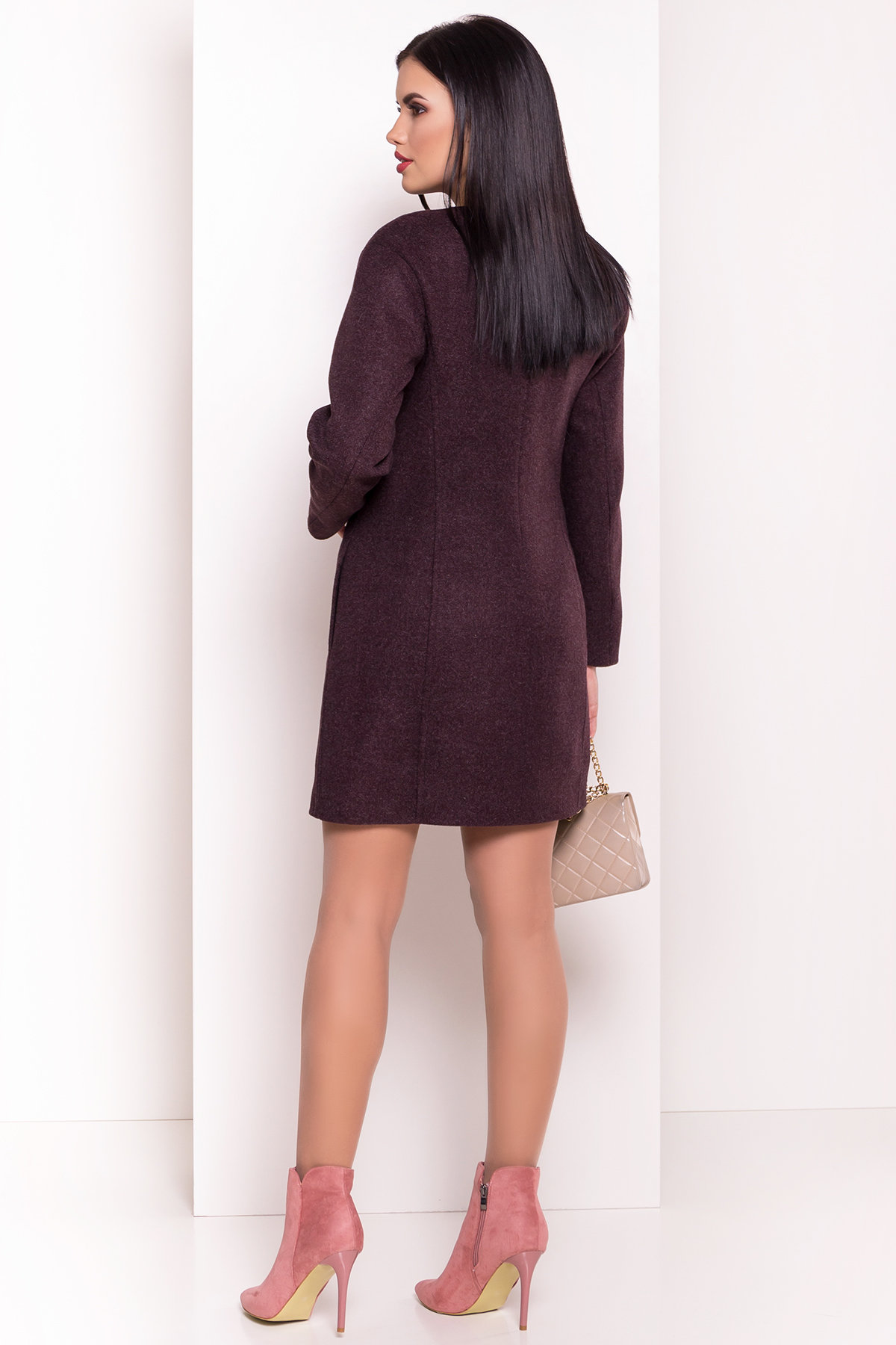 Пальто Авелони 4555 АРТ. 36676 Цвет: Марсала - фото 2, интернет магазин tm-modus.ru