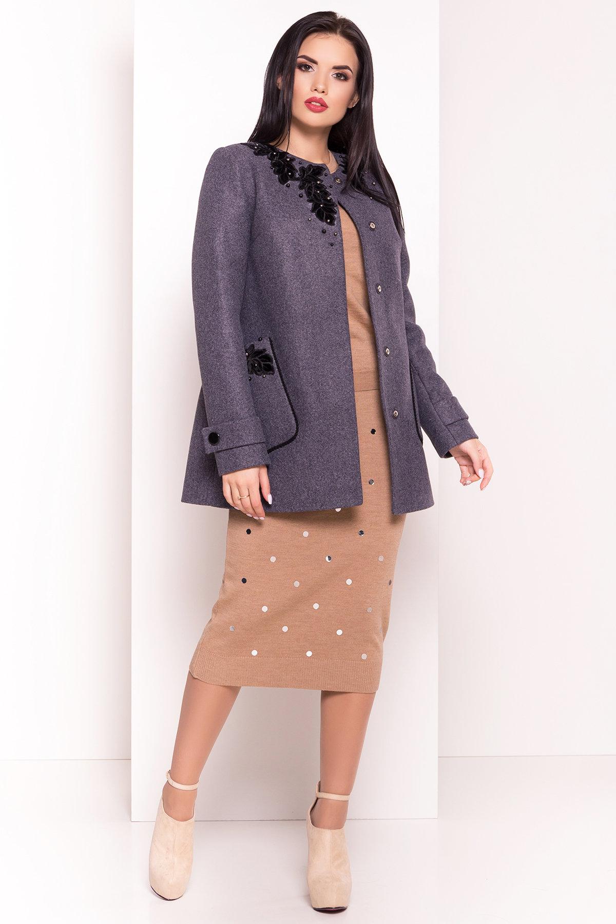 Укороченное пальто-трапеция с вышивкой Латта 5526 Цвет: Серый/голубой 43