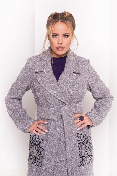 Демисезонное пальто из варенной шерсти Милена 5273 Цвет: Серый LW-10