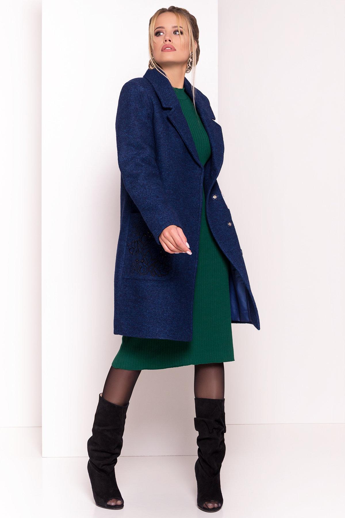 Демисезонное пальто из варенной шерсти Милена 5273 АРТ. 37590 Цвет: Т.синий/электрик-LW27 - фото 3, интернет магазин tm-modus.ru
