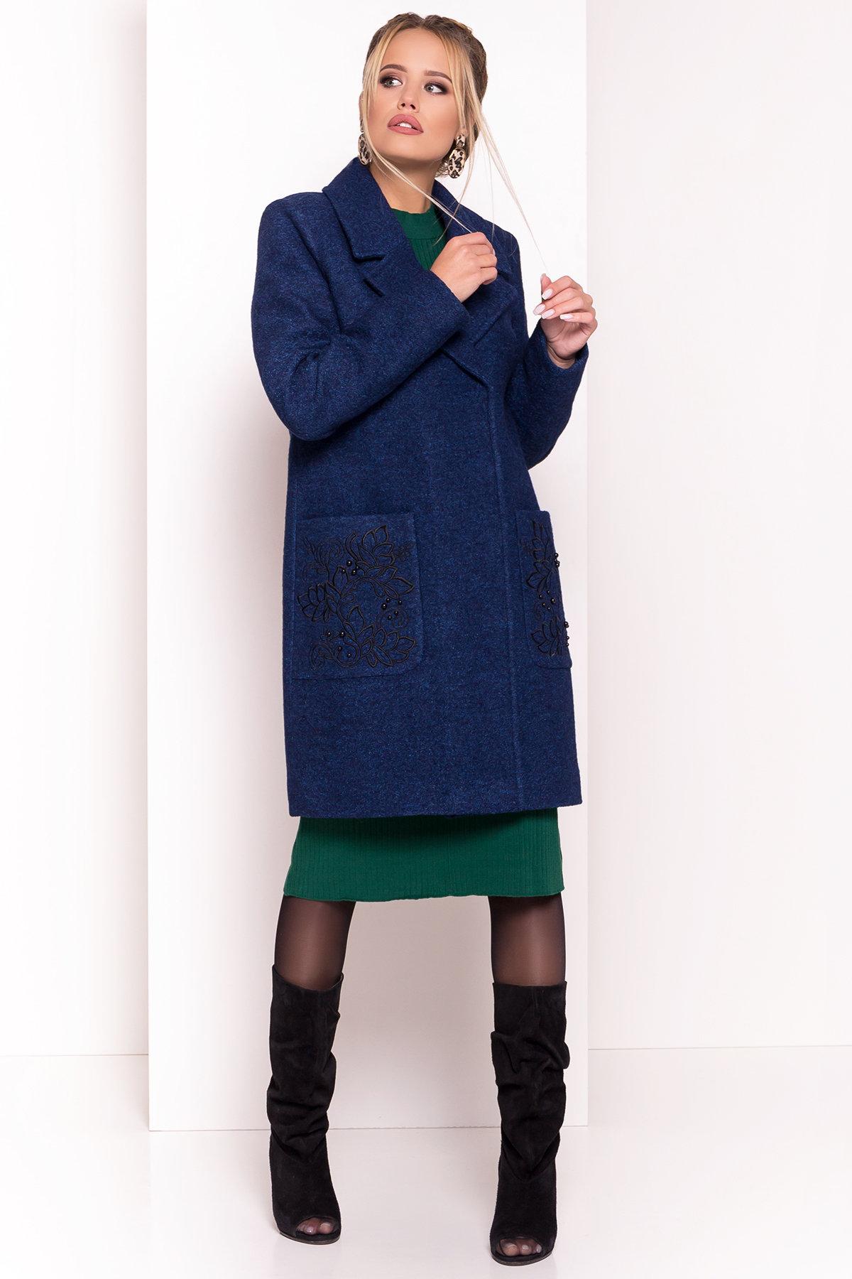 Демисезонное пальто из варенной шерсти Милена 5273 АРТ. 37590 Цвет: Т.синий/электрик-LW27 - фото 4, интернет магазин tm-modus.ru