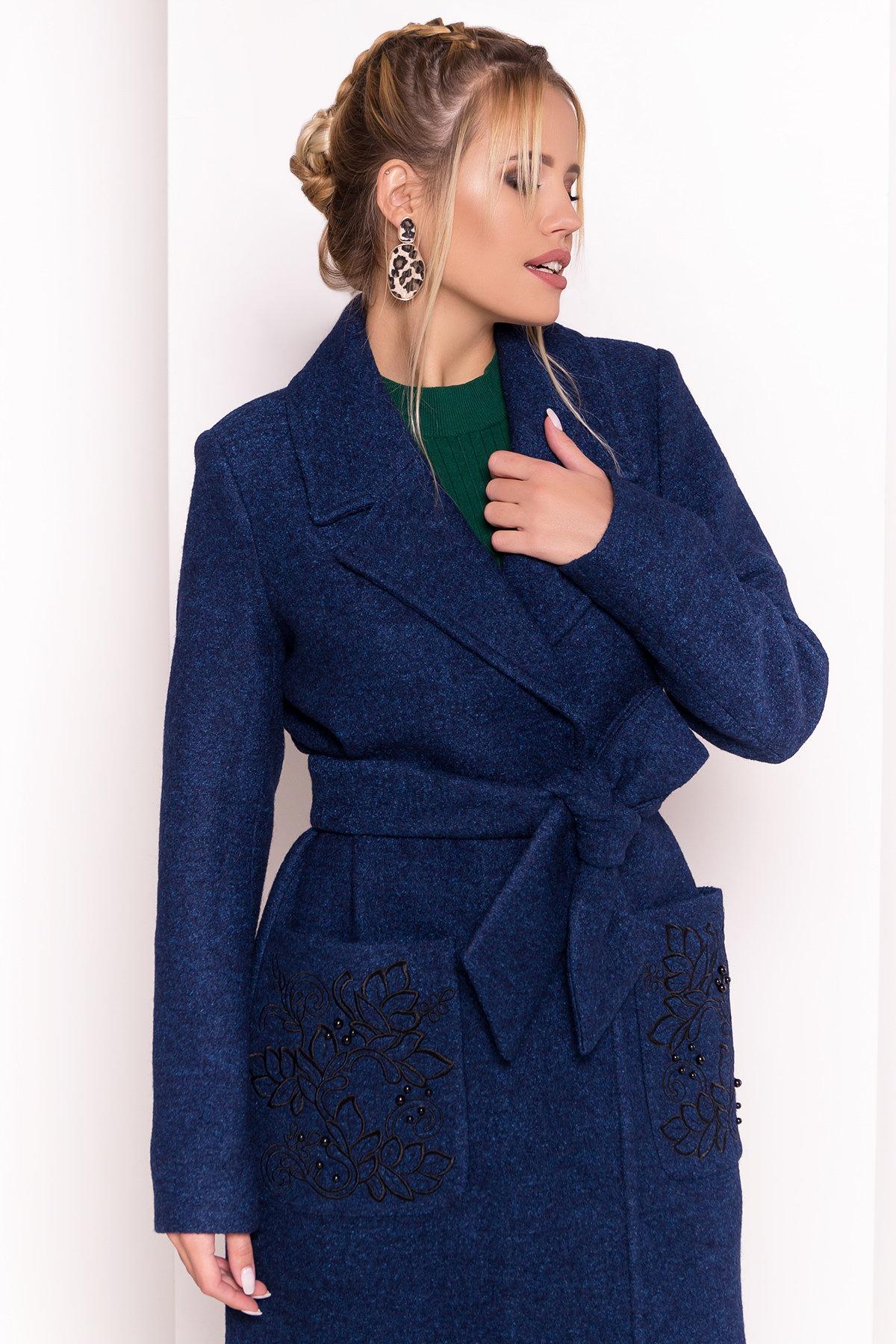 Демисезонное пальто из варенной шерсти Милена 5273 АРТ. 37590 Цвет: Т.синий/электрик-LW27 - фото 5, интернет магазин tm-modus.ru