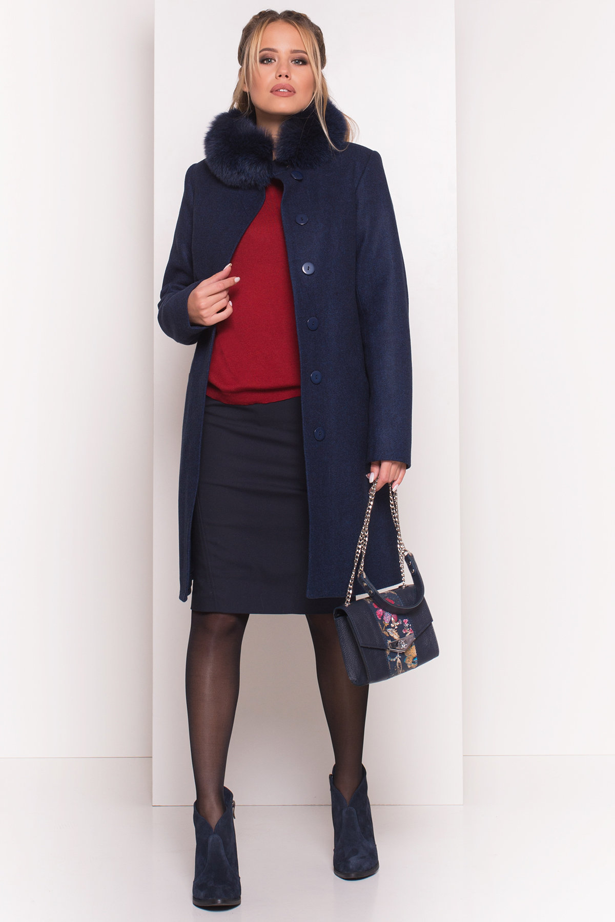 Пальто зима Люцея 5513 АРТ. 37046 Цвет: Темно-синий 17 - фото 3, интернет магазин tm-modus.ru