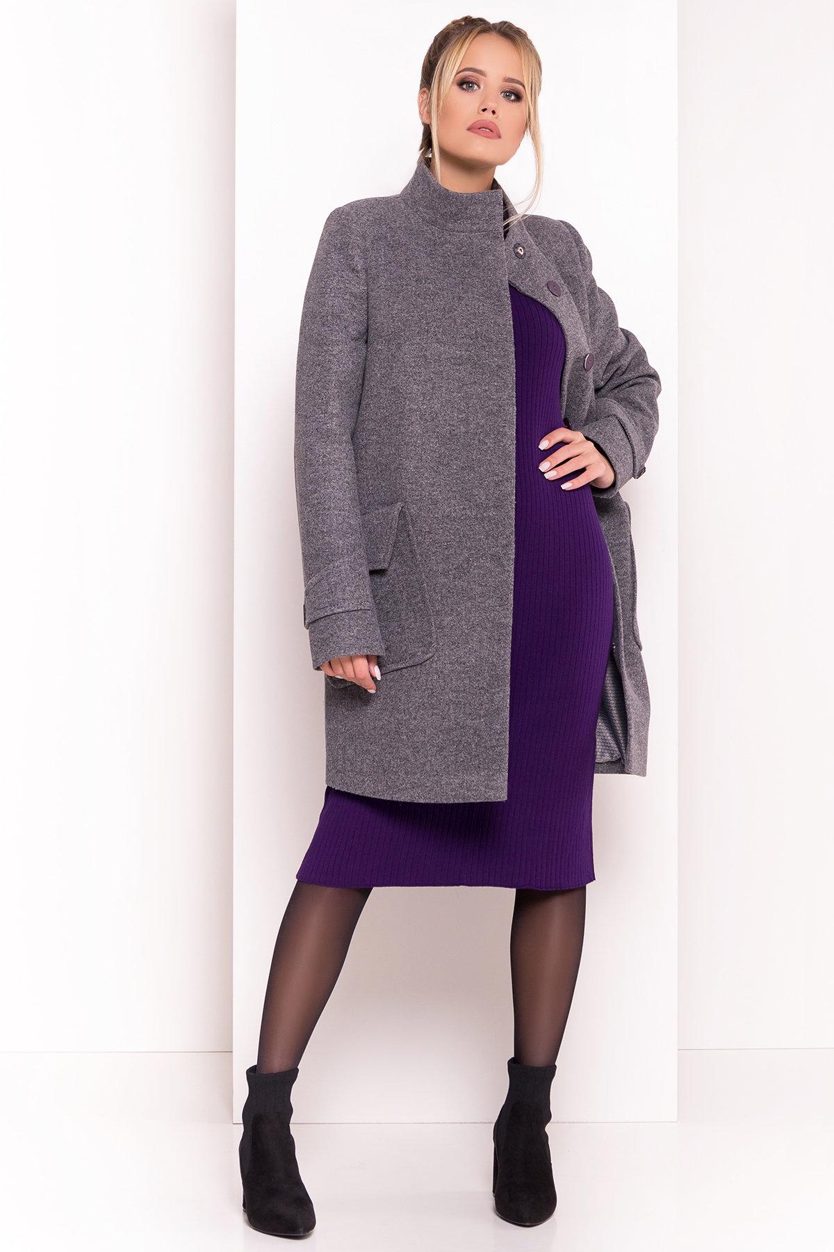 Демисезонное пальто с воротником стойка Эста 5417 АРТ. 36666 Цвет: Серый Темный - фото 3, интернет магазин tm-modus.ru