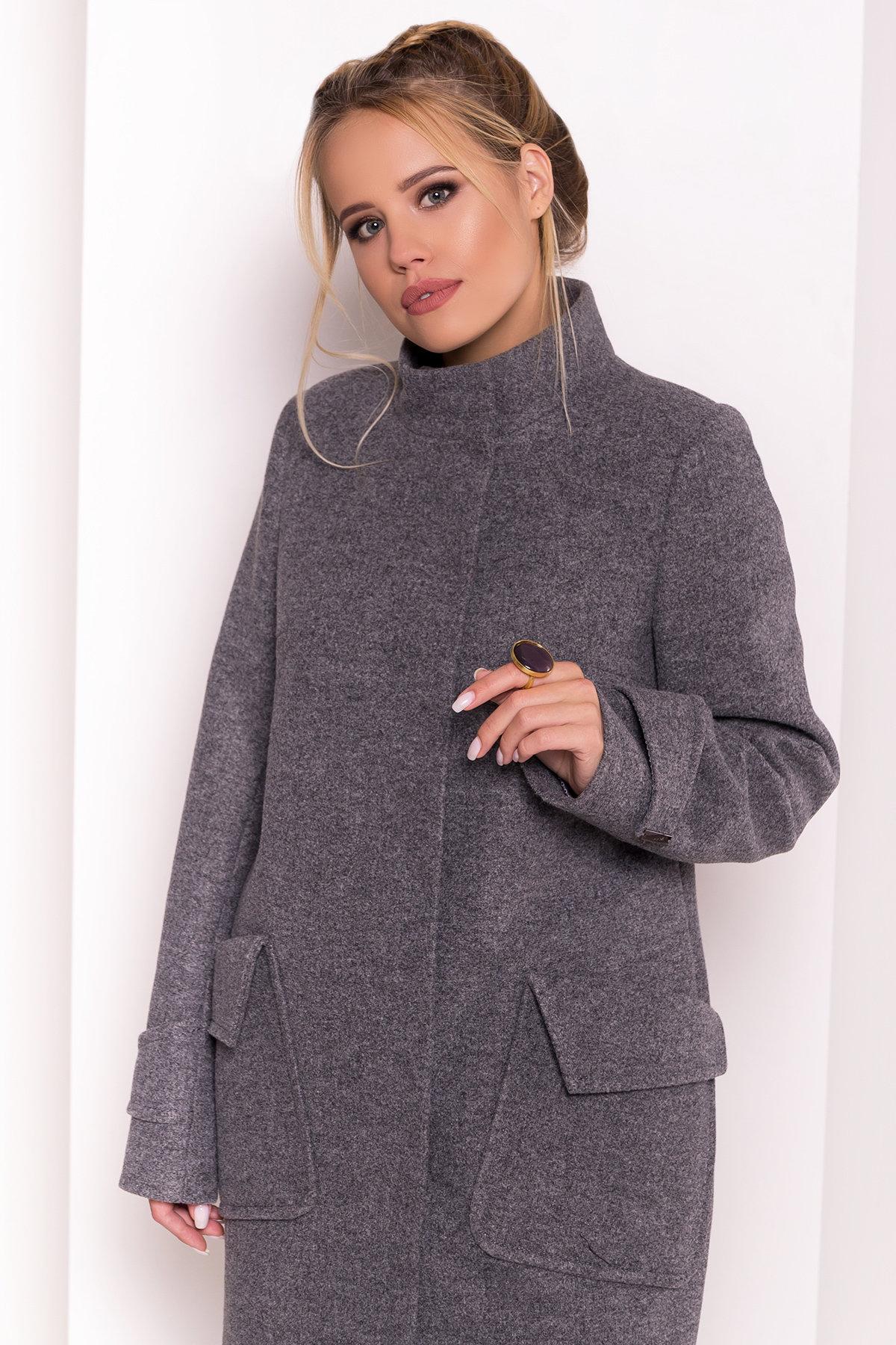 Демисезонное пальто с воротником стойка Эста 5417 АРТ. 36666 Цвет: Серый Темный - фото 4, интернет магазин tm-modus.ru