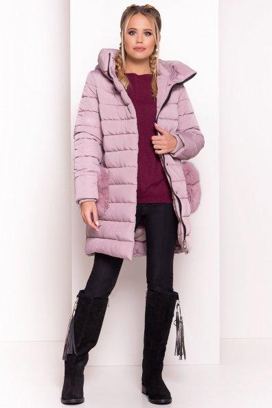 Пуховик Лили 3523 Цвет: Серый/розовый