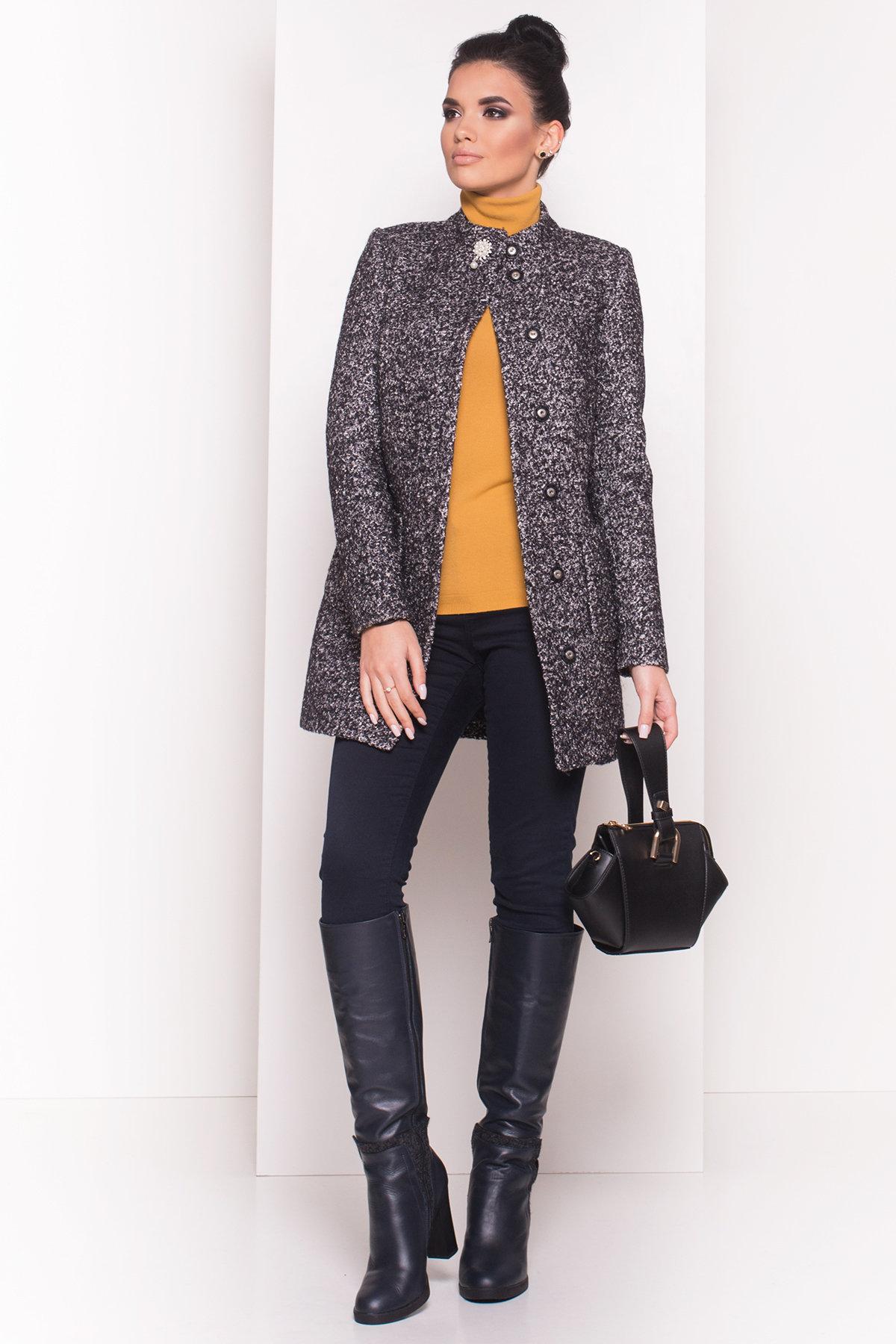 Пальто Мелини 0442 АРТ. 6776 Цвет: Черный / серый 6 - фото 3, интернет магазин tm-modus.ru