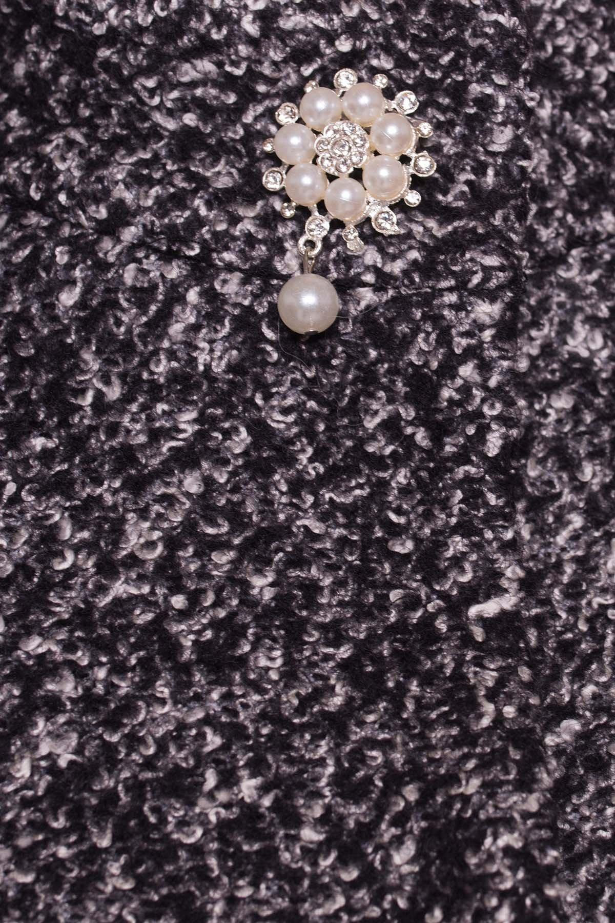 Пальто Мелини 0442 АРТ. 6776 Цвет: Черный / серый 6 - фото 5, интернет магазин tm-modus.ru