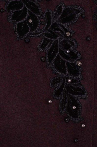 Укороченное пальто-трапеция с вышивкой Латта 5526 Цвет: Марсала 75