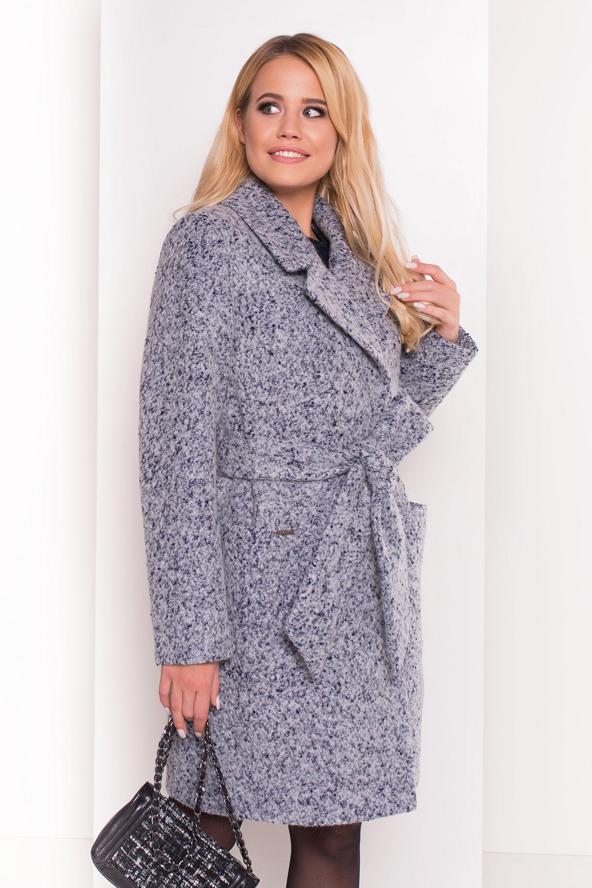 Пальто Мила 5698 Цвет: Серый/голубой