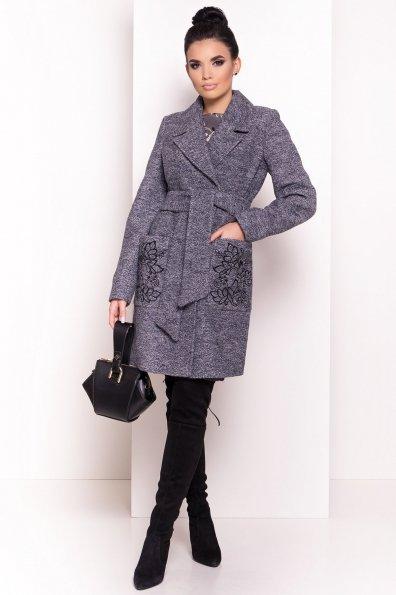 Демисезонное пальто из варенной шерсти Милена 5273 Цвет: Серый темный LW-22